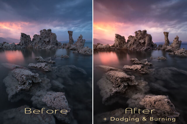 Oniric Plugin for Photoshop, before and after