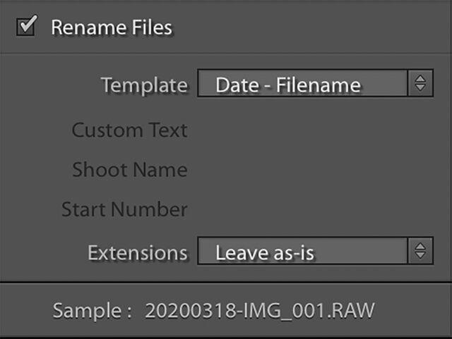 File renaming Lightroom classic