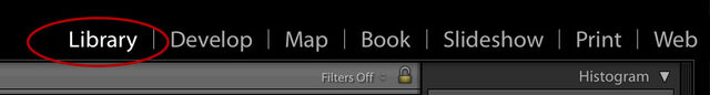 Lightroom Library module button circled