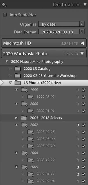 Lightroom Destination Folders