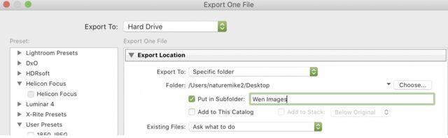 Lightroom export folder options