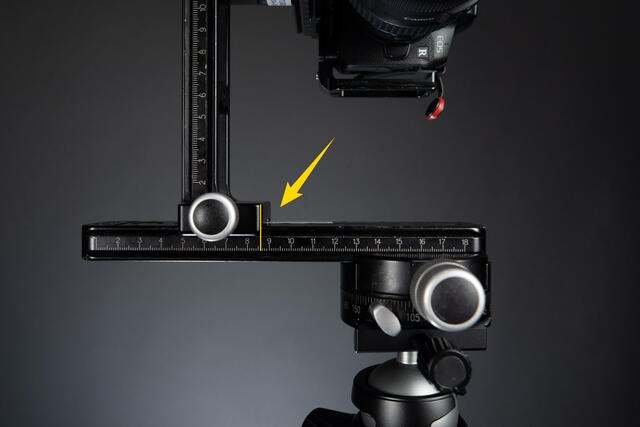 Take note of the markings on the bottom rail of your panorama rig once you have it set properly.