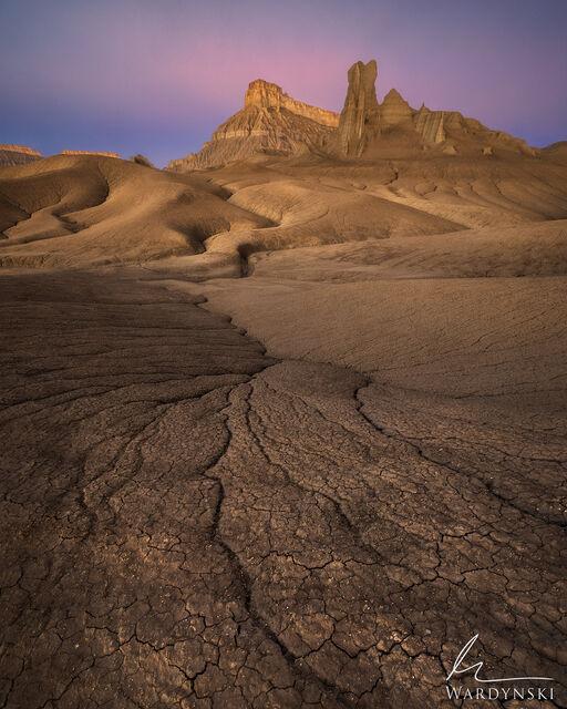 southwest, vertical, color, utah, sunrise, bad lands, purple, pink, warm, desert