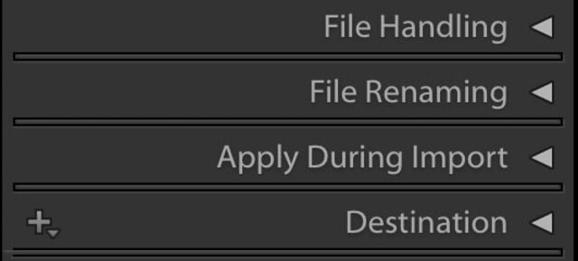 file handling option in lightroom classic
