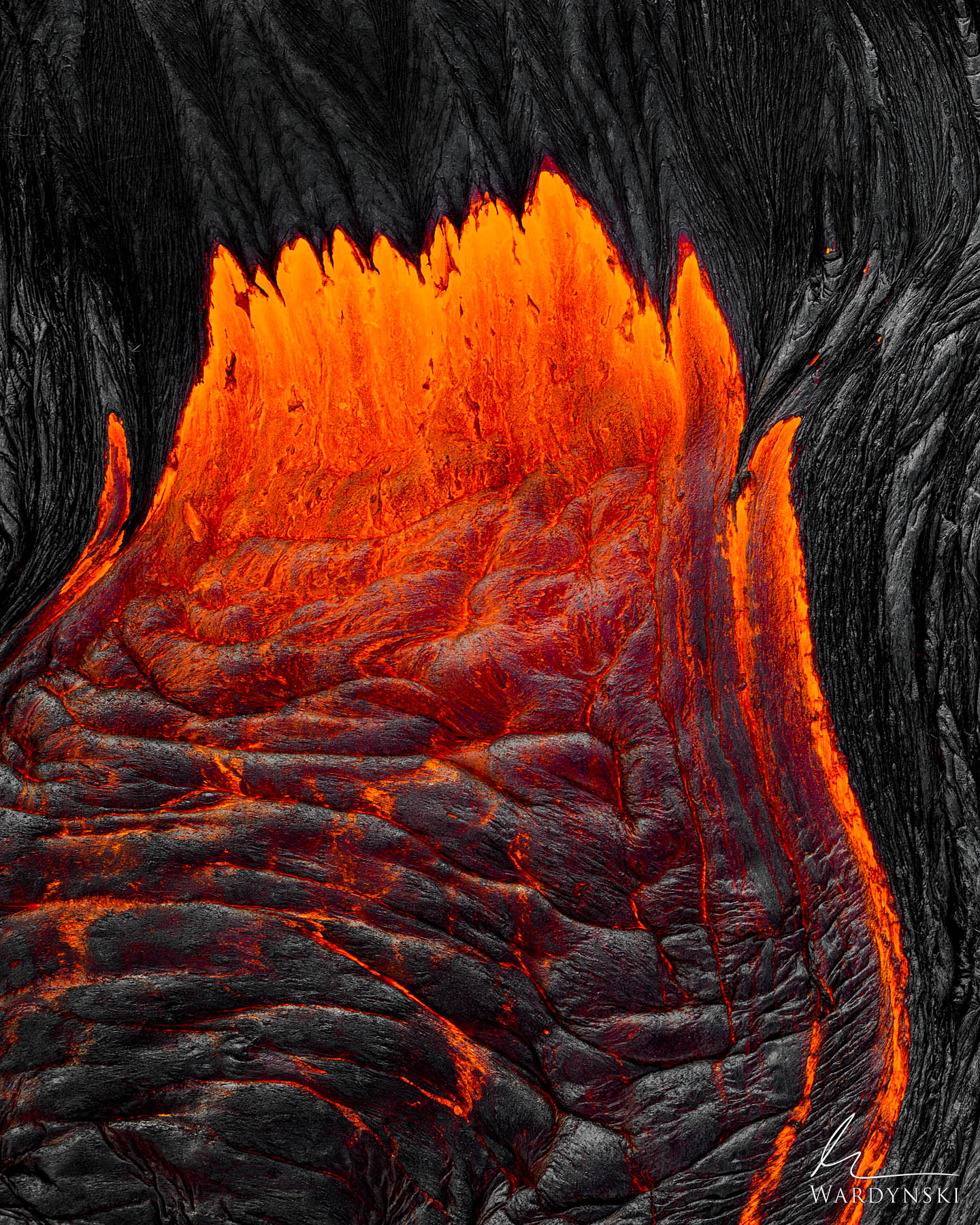 Fine Art Print | Limited Edition of 50  Hot lava flows like honey out of a fresh breakout on the Kilauea volcano in Hawaii. Kilauea...