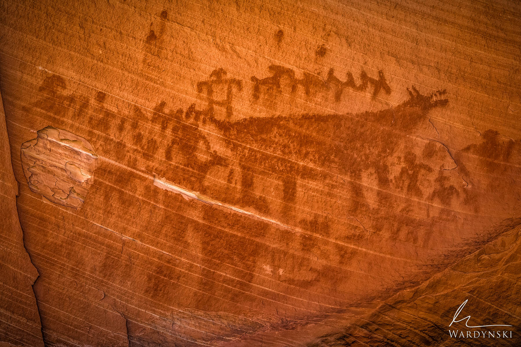 Fine Art Print | Limited Edition of 25  A 1,000 year old  pictograph depicting a bear hunt remains on a sandstone wall long after...