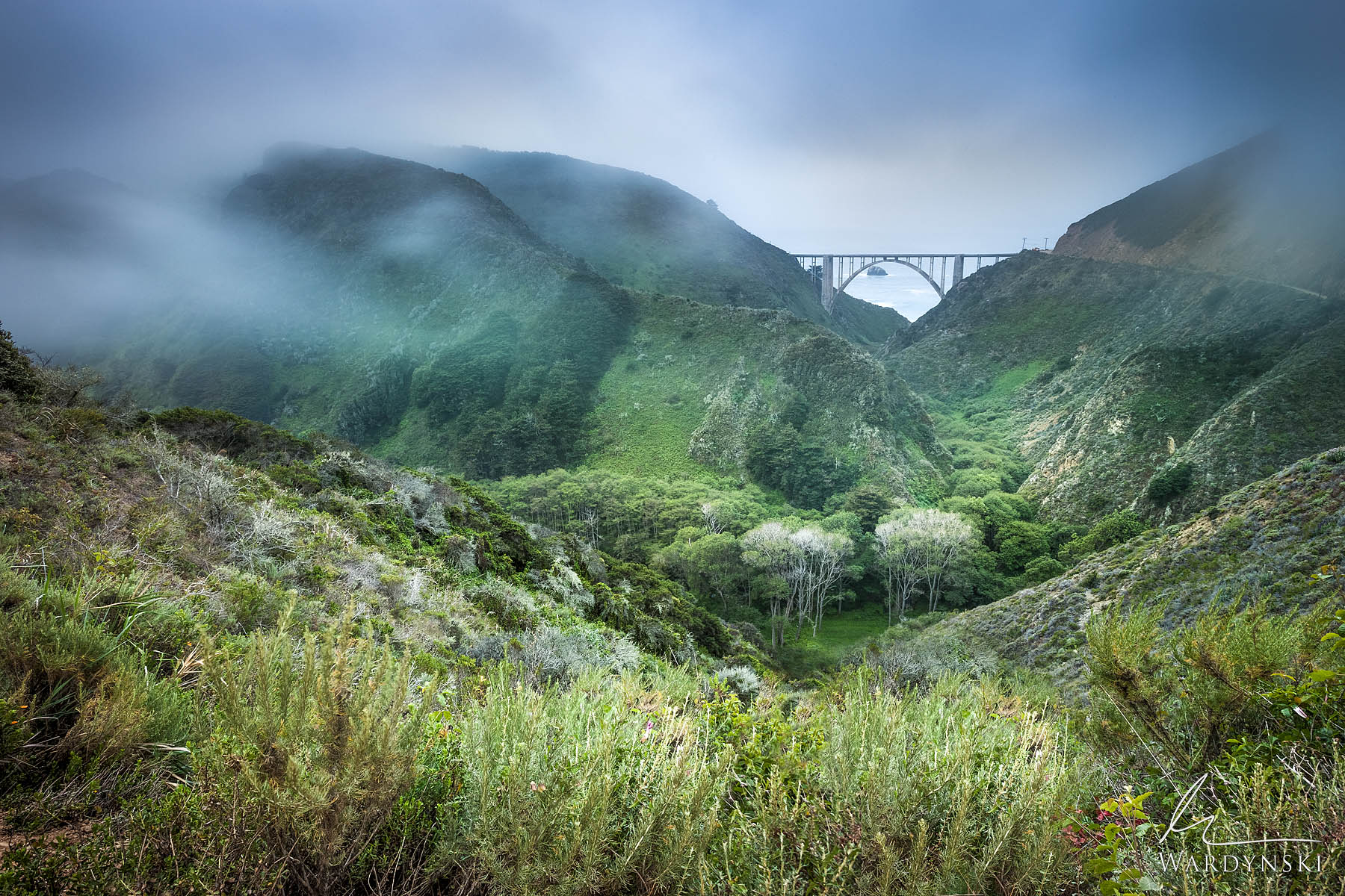 Fine Art Print | Limited Edition of 100  Fog hugs the cliffs that surround Bixby Bridge in Big Sur California. Mornings in Big...