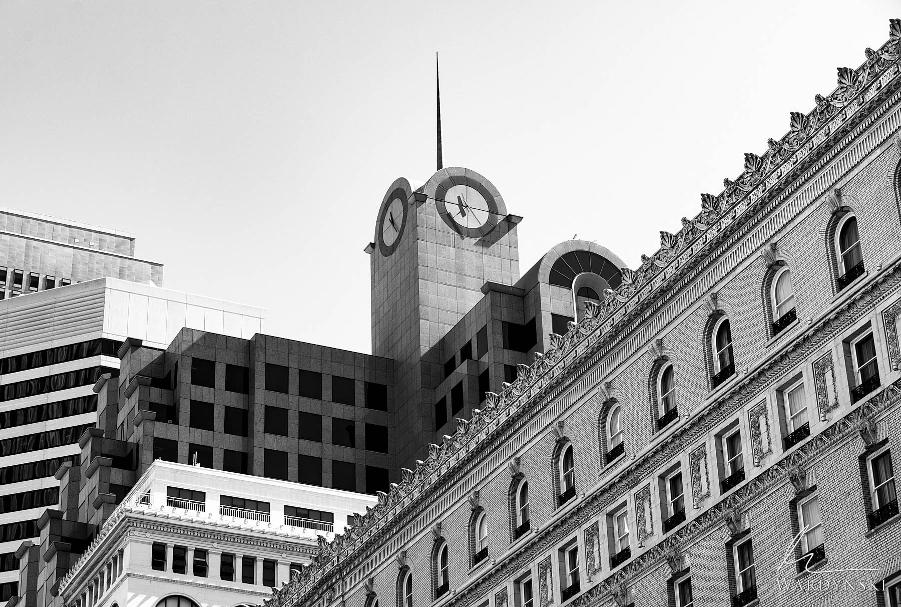 Black and White Fine Art Print | Limited Edition of 25  Five different builds create beautiful layers of architecture in downtown...