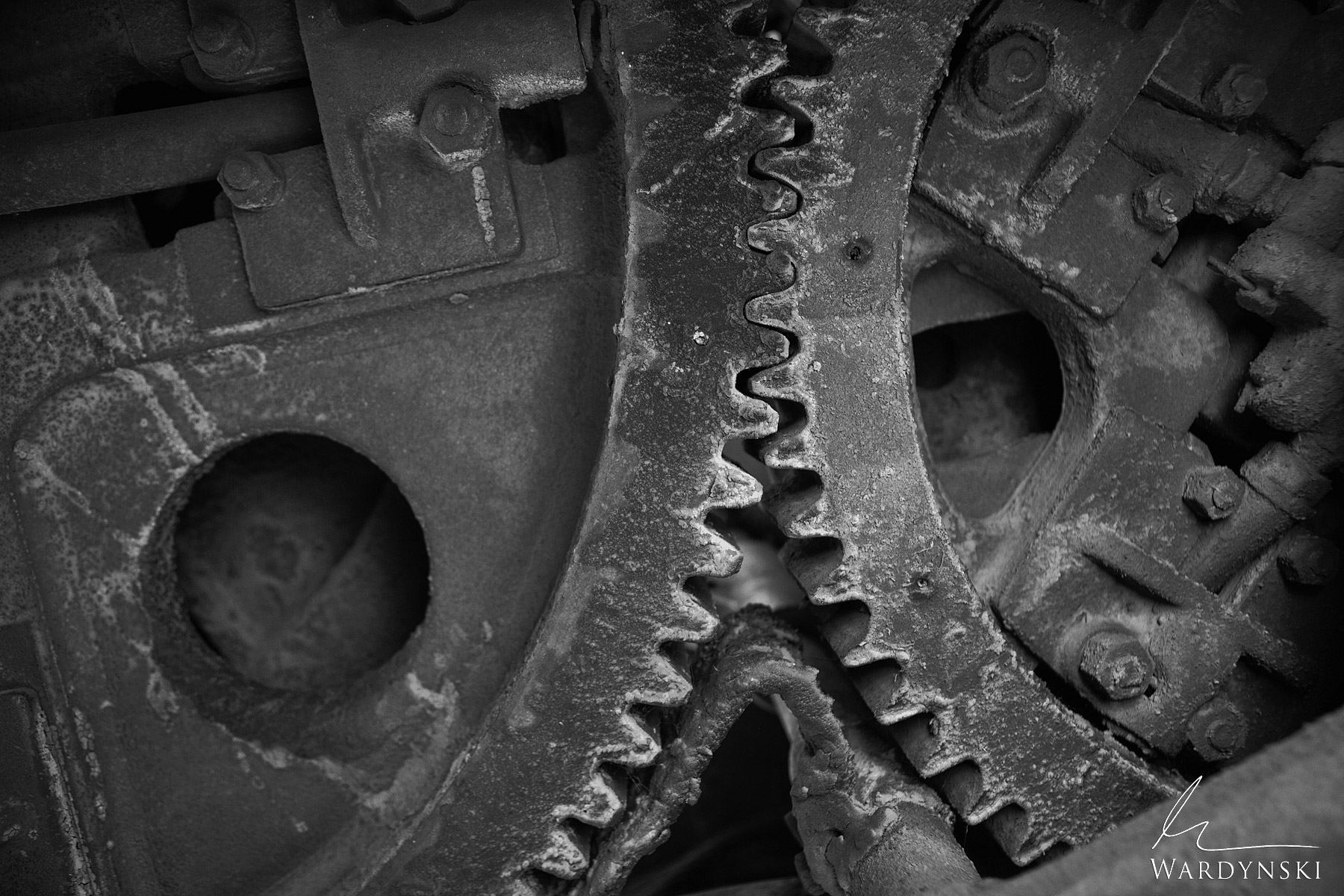 Black And White Fine Art Print | Limited Edition of 25  The gears of a steam engine sit locked in place. How many miles did these...