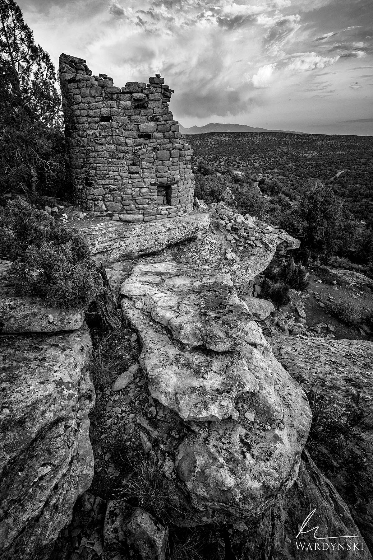 Black and White Fine Art Print | Limited Edition of 100 An ancient Anasazi ruin rests on the edge of a shallow canyon in Western...