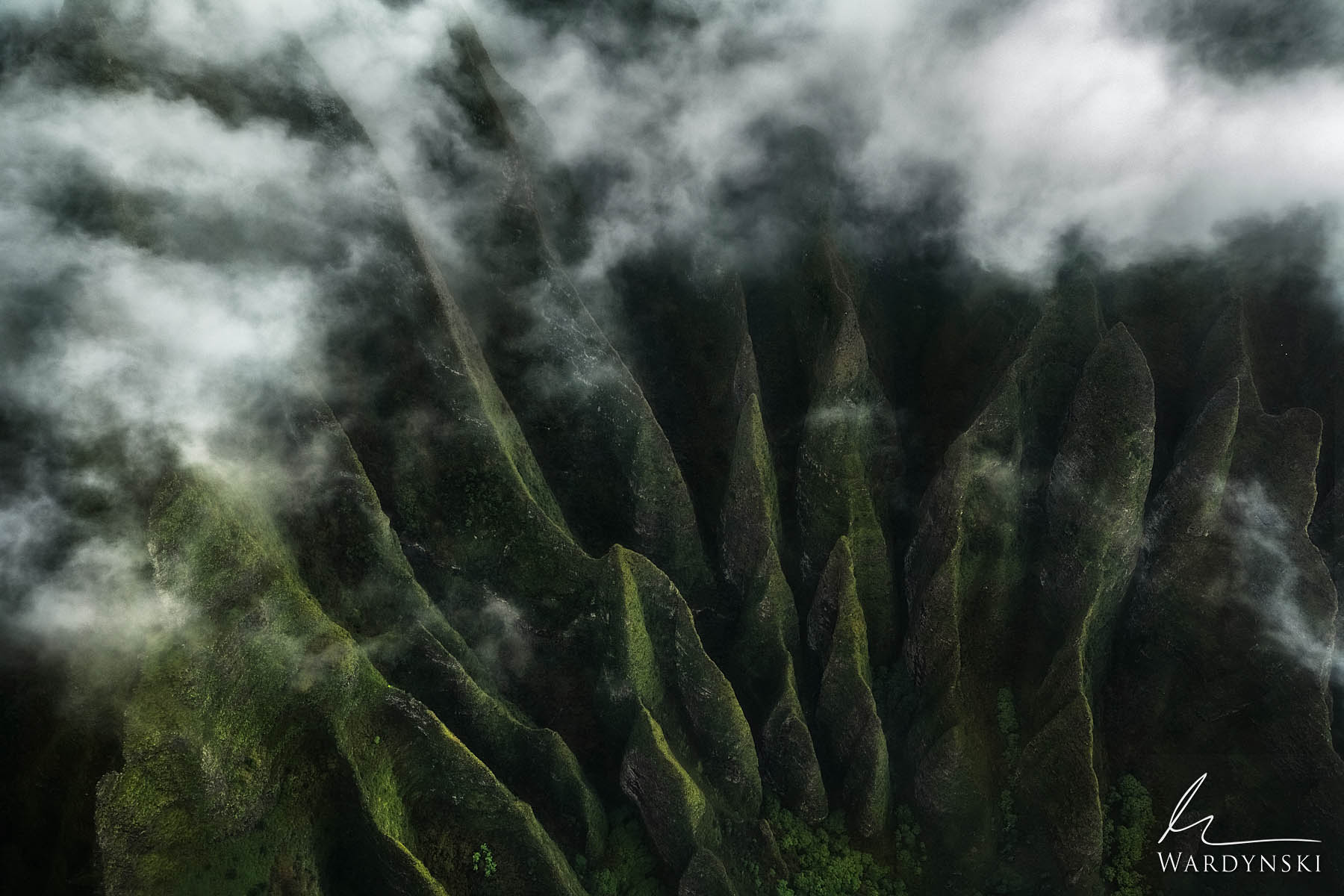 Fine Art Print | Limited Edition of 50  Massive cathedrals covered in green vegetation tower into moody clouds along the Na Pali...