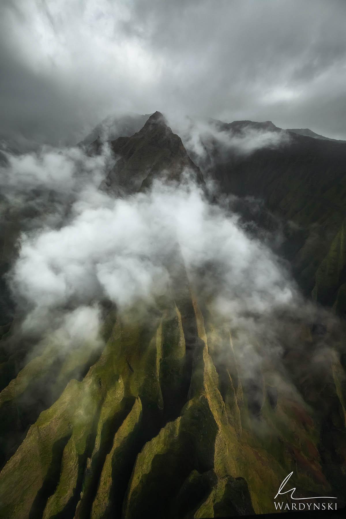 Fine Art Print | Limited Edition of 50  Clouds and fog form around the peaks of the Na Pali Coast on the Hawaiian Island of Kauai...