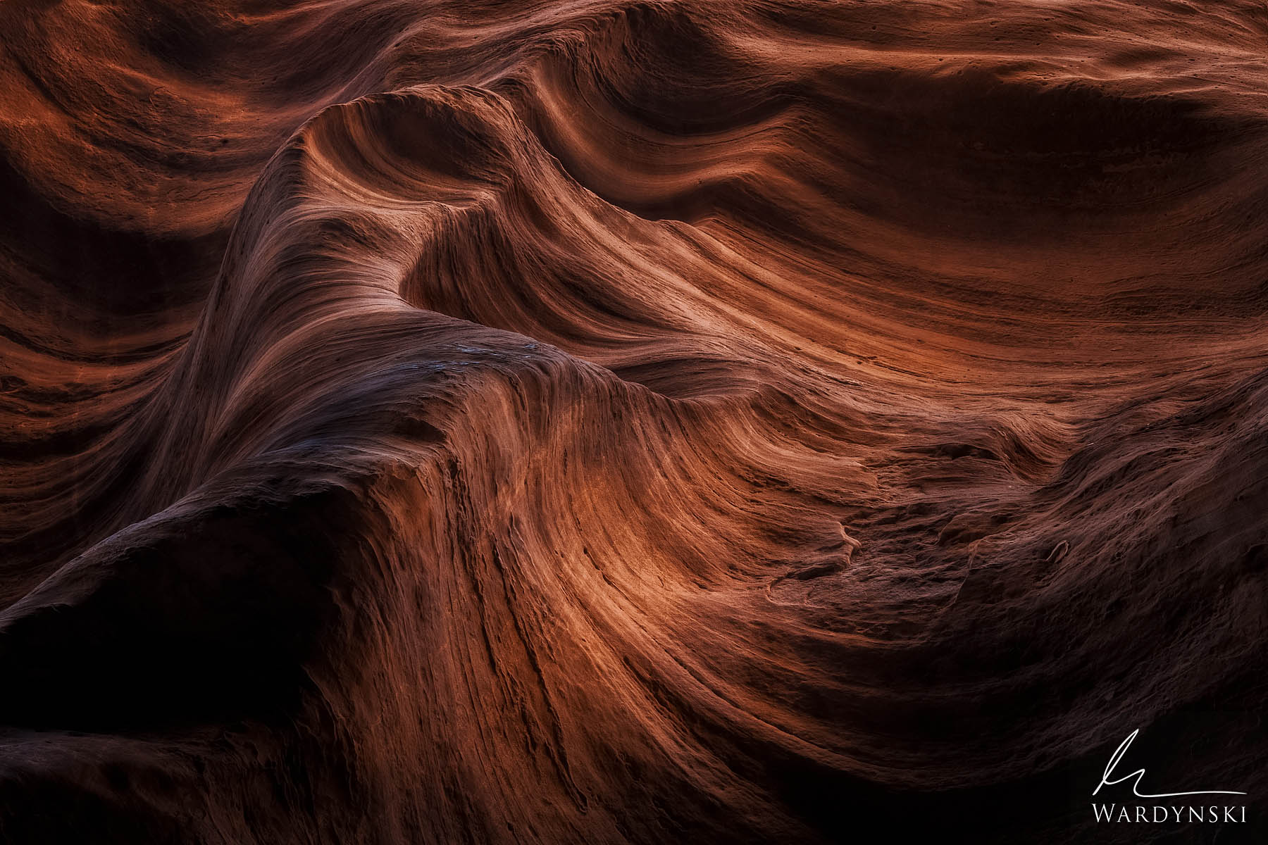 Fine Art Print | Limited Edition of 25  Contoured sandstone walls are echos of past storms in the Southwest. These textured slot...