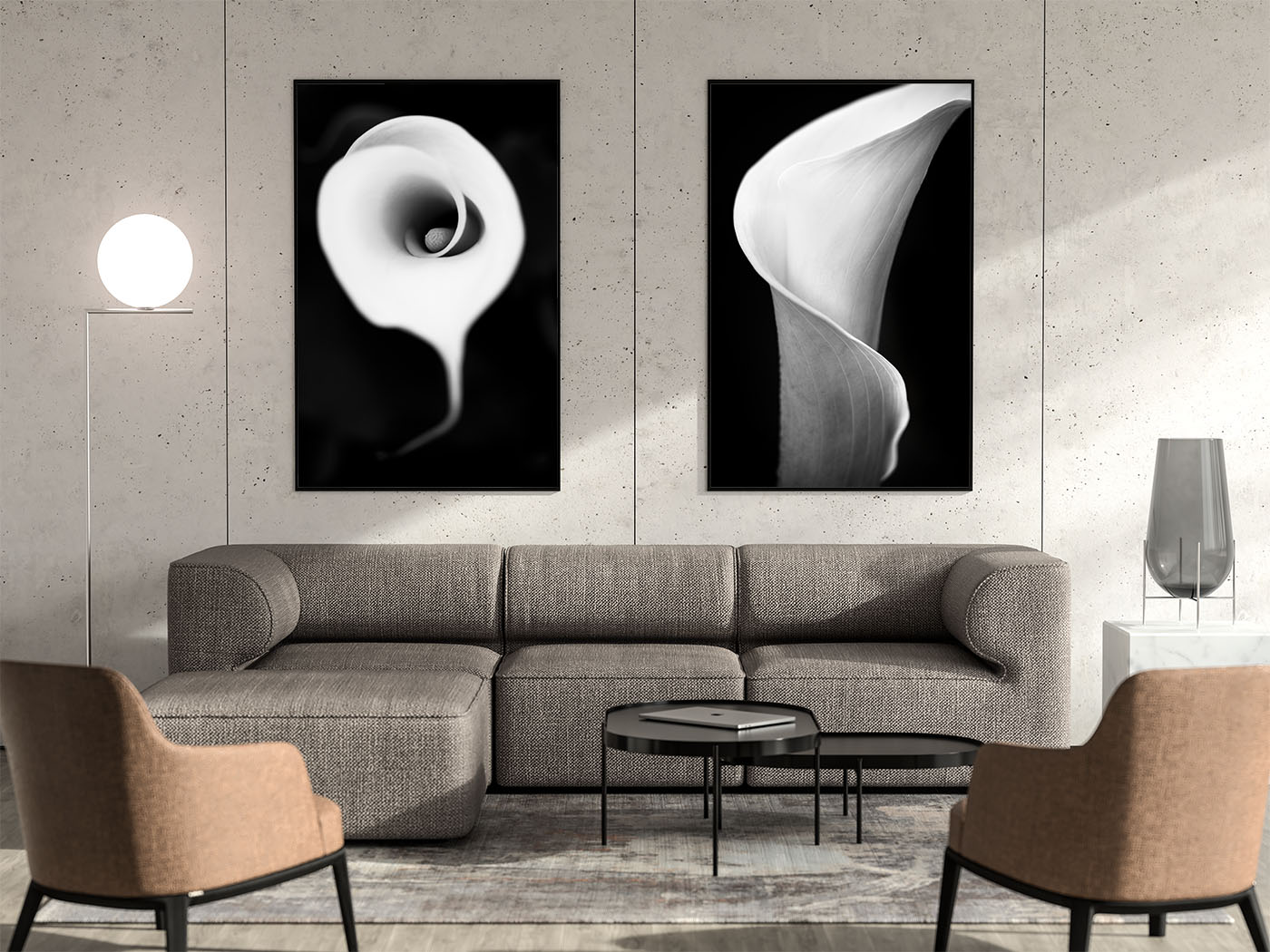 Modern black and white photography prints