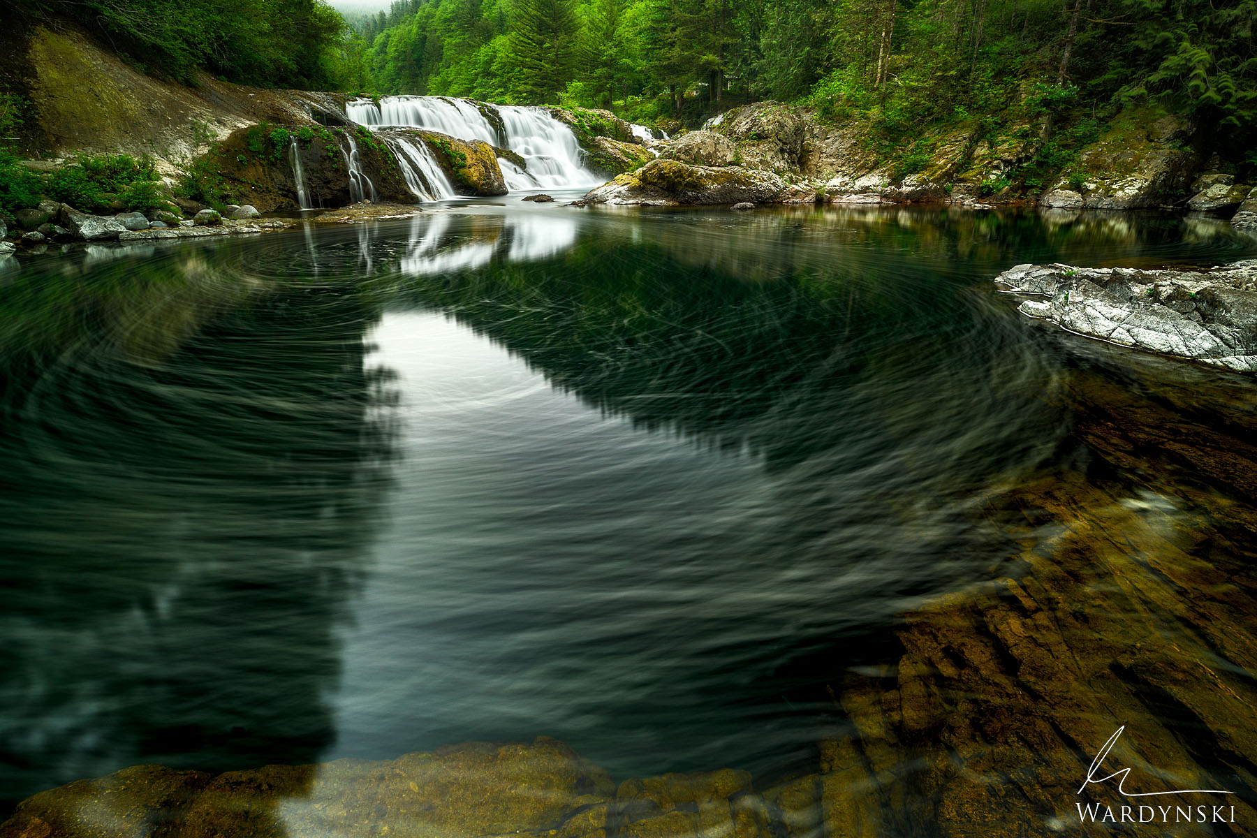 Fine Art Print   Limited Edition of 25  Tiny bubbles swirl in front of Dougan Falls near the Columbia River Gorge in Washington...