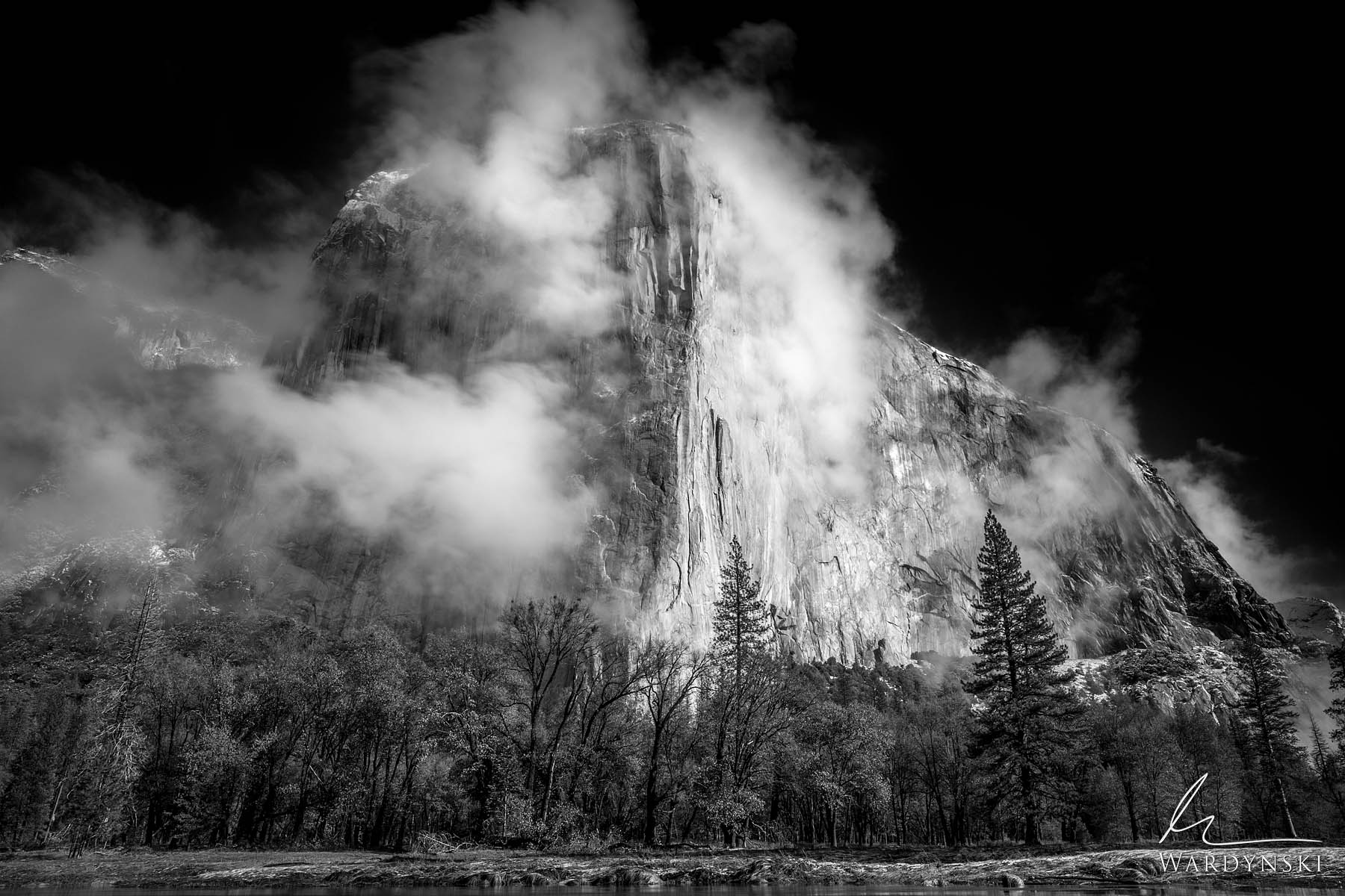 Fine Art Black And White Print | Limited Edition of 100  Clouds form directly out of the cold granite face of El Capitan as the...