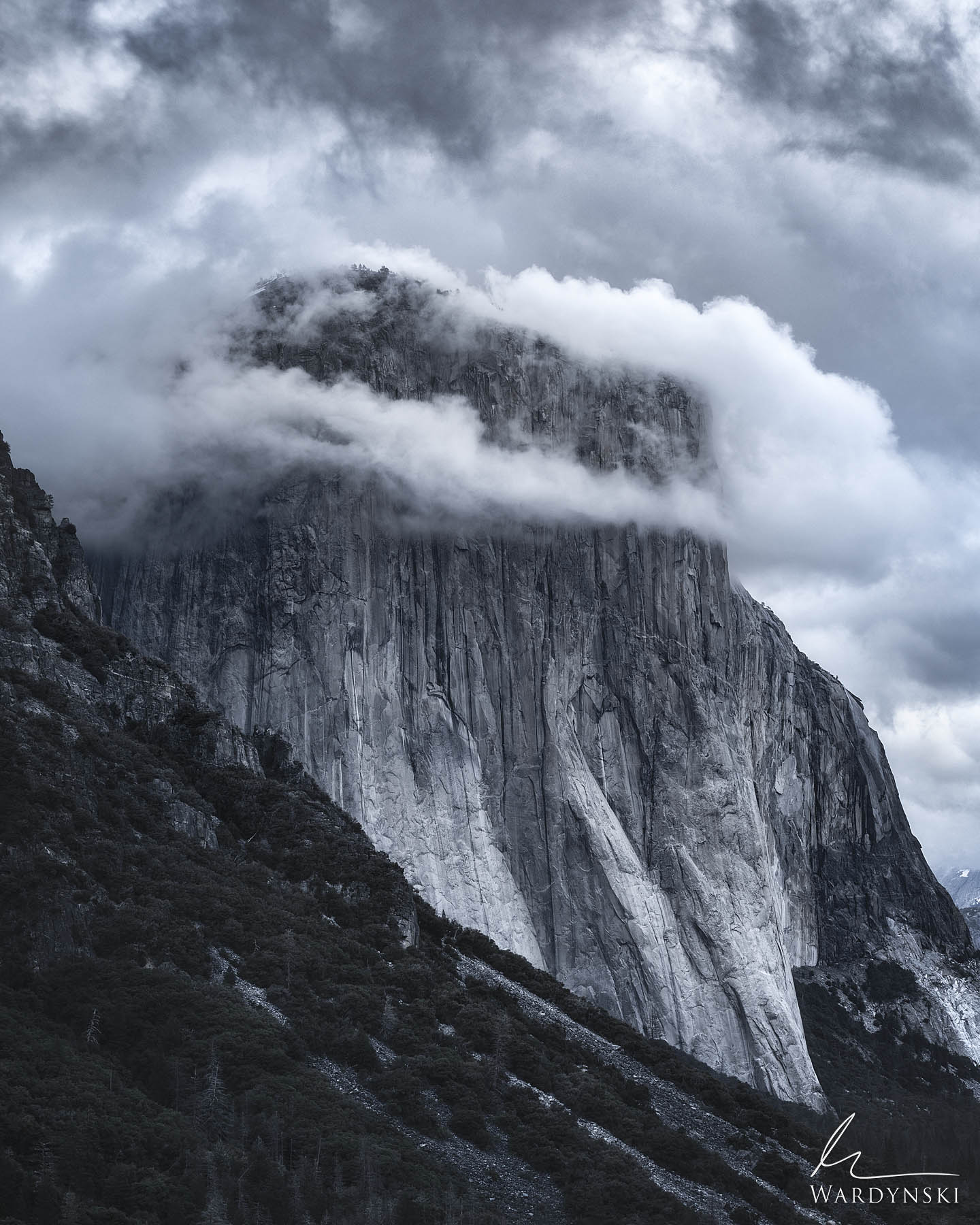 Fine Art Print | Limited Edition of 200  Clouds form around El Capitan like a crown on a king. This majestic rock towers 3,000...