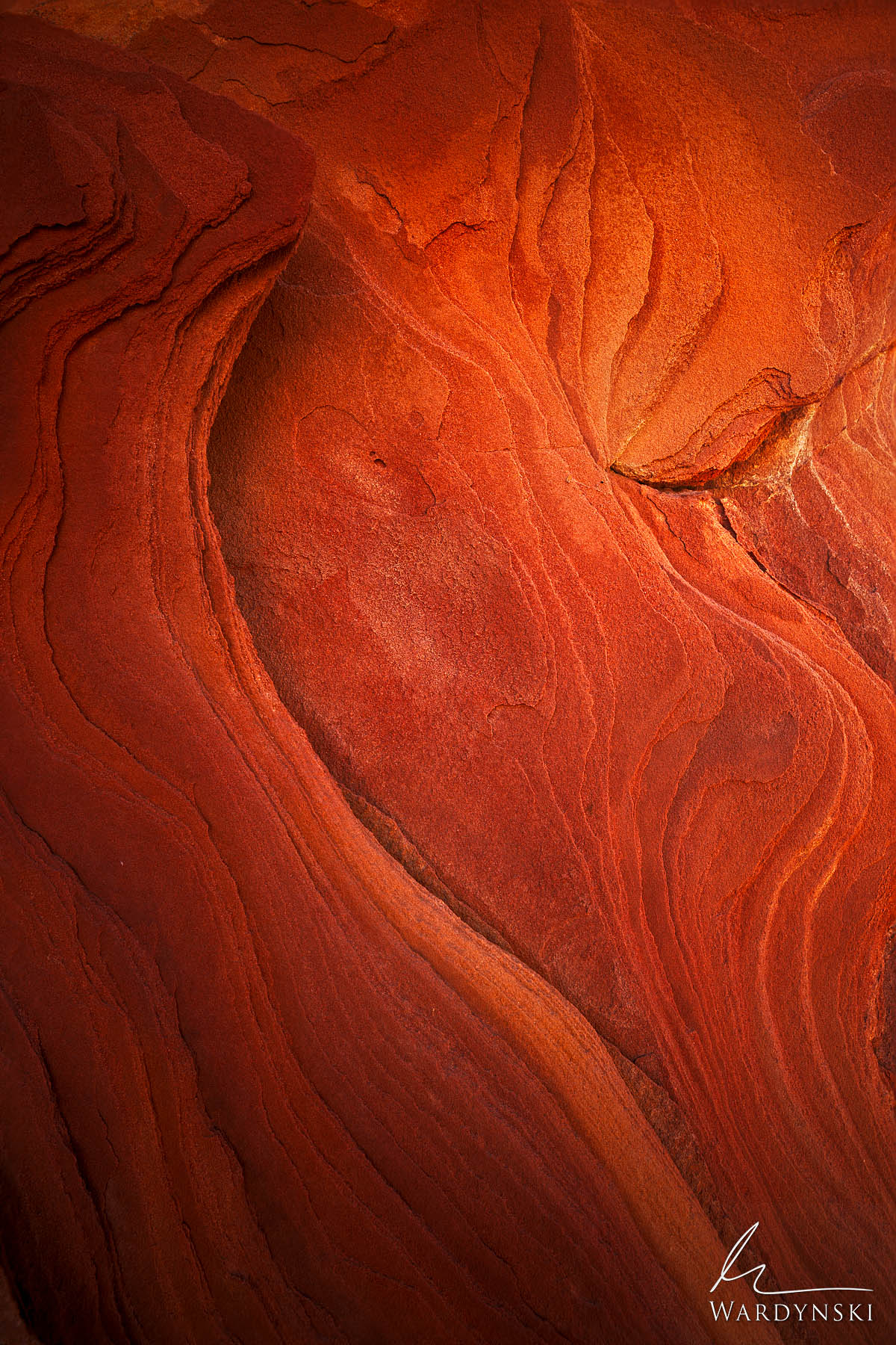 Fine Art Print | Limited Edition of 35  A pocket of red sandstone creates flame like textures in the desert of Nevada. While...