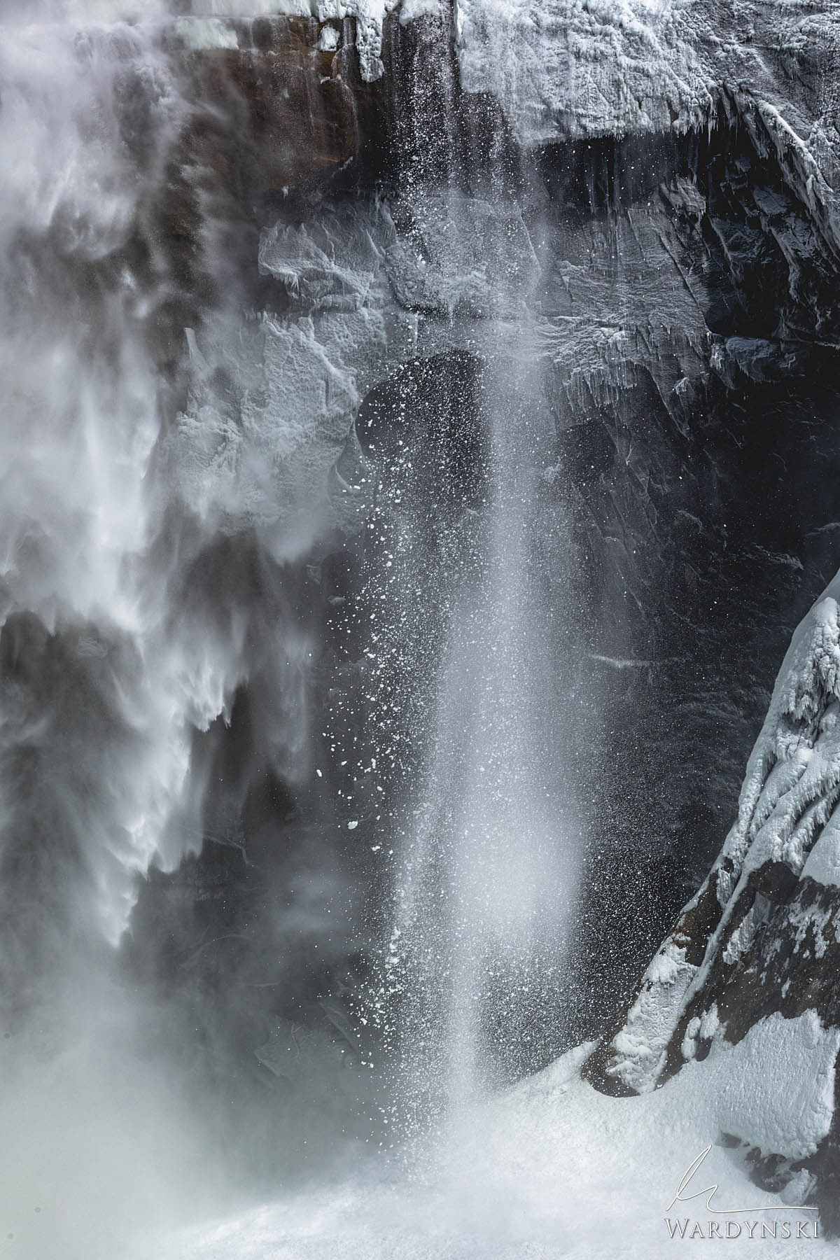 Fine Art Print | Limited Edition of 100  Ice and snow comes crashing down at the base of Upper Yosemite Falls. These mini avalanches...