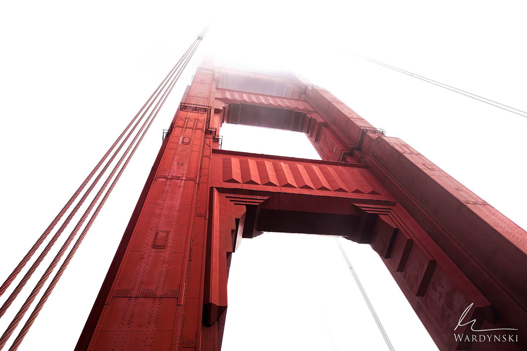 Fine Art Print | Limited Edition of 50 (Also Available In Black & White) The north tower of the Golden Gate Bridge disappears...