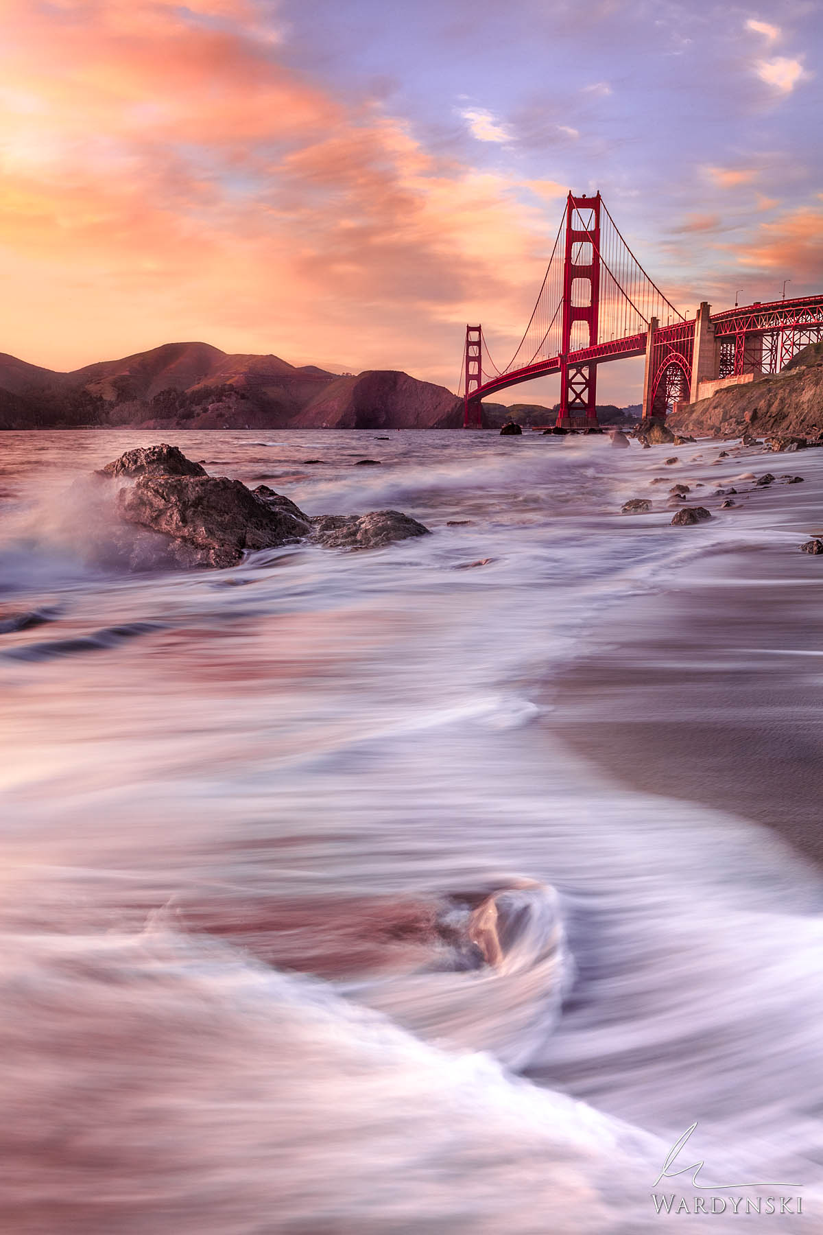 Fine Art Print, Limited Edition of 35   Waves crash on the shore of the San Francisco Bay while the setting sun casts a beautiful...