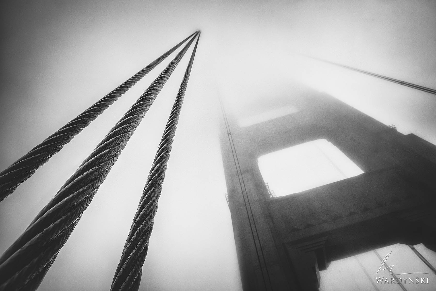 Black and White, Fine Art Print | Limited Edition of 100  Massive cables disappear into a thick blanket of fog on The Golden...