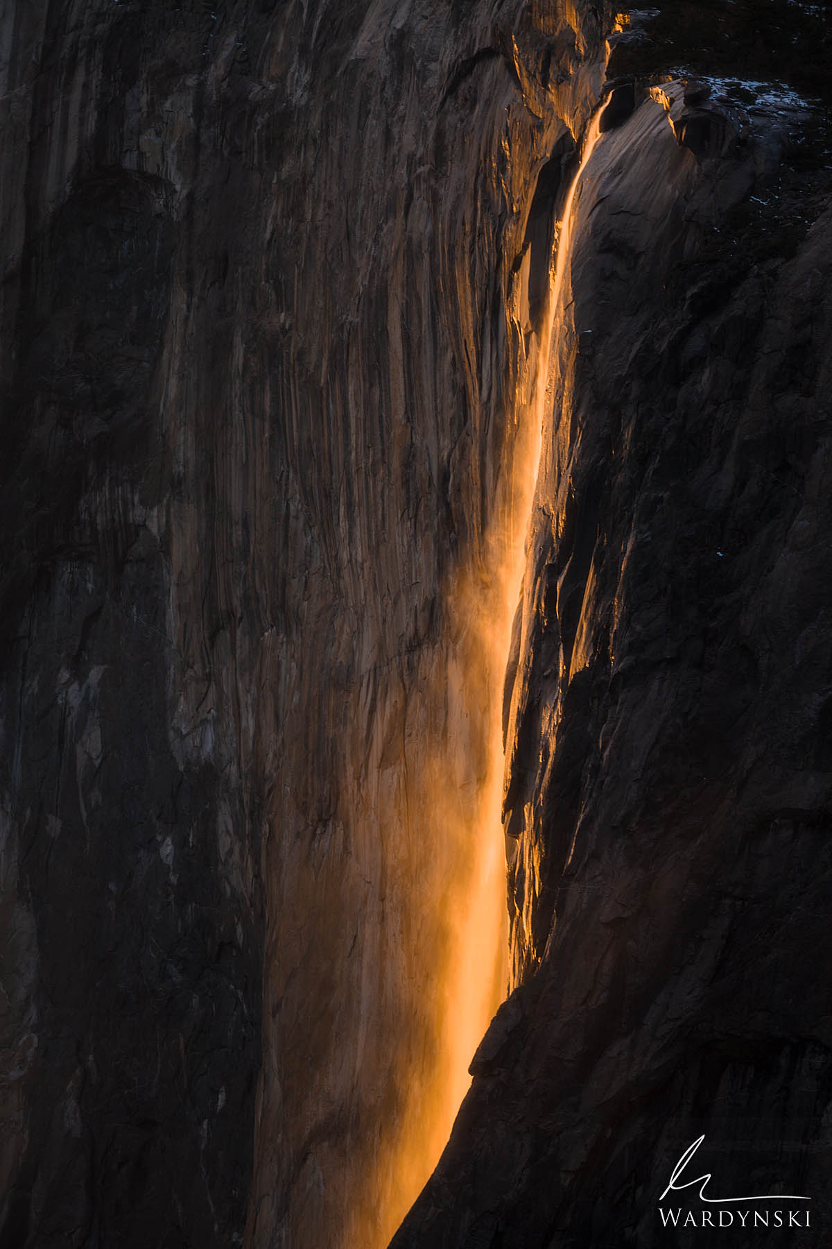Fine Art Print | Limited Edition of 100  For a few weeks out of the year the setting sun lights up Horsetail Fall at the perfect...