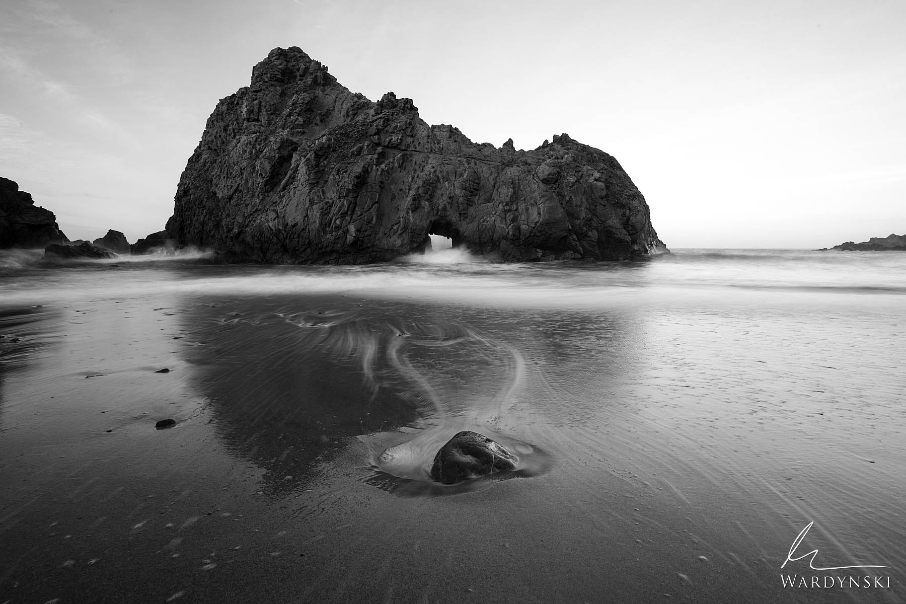 Black and White Fine Art Print | Limited Edition of 100  A small rock helps create the formation of a heart shaped key at Keyhole...