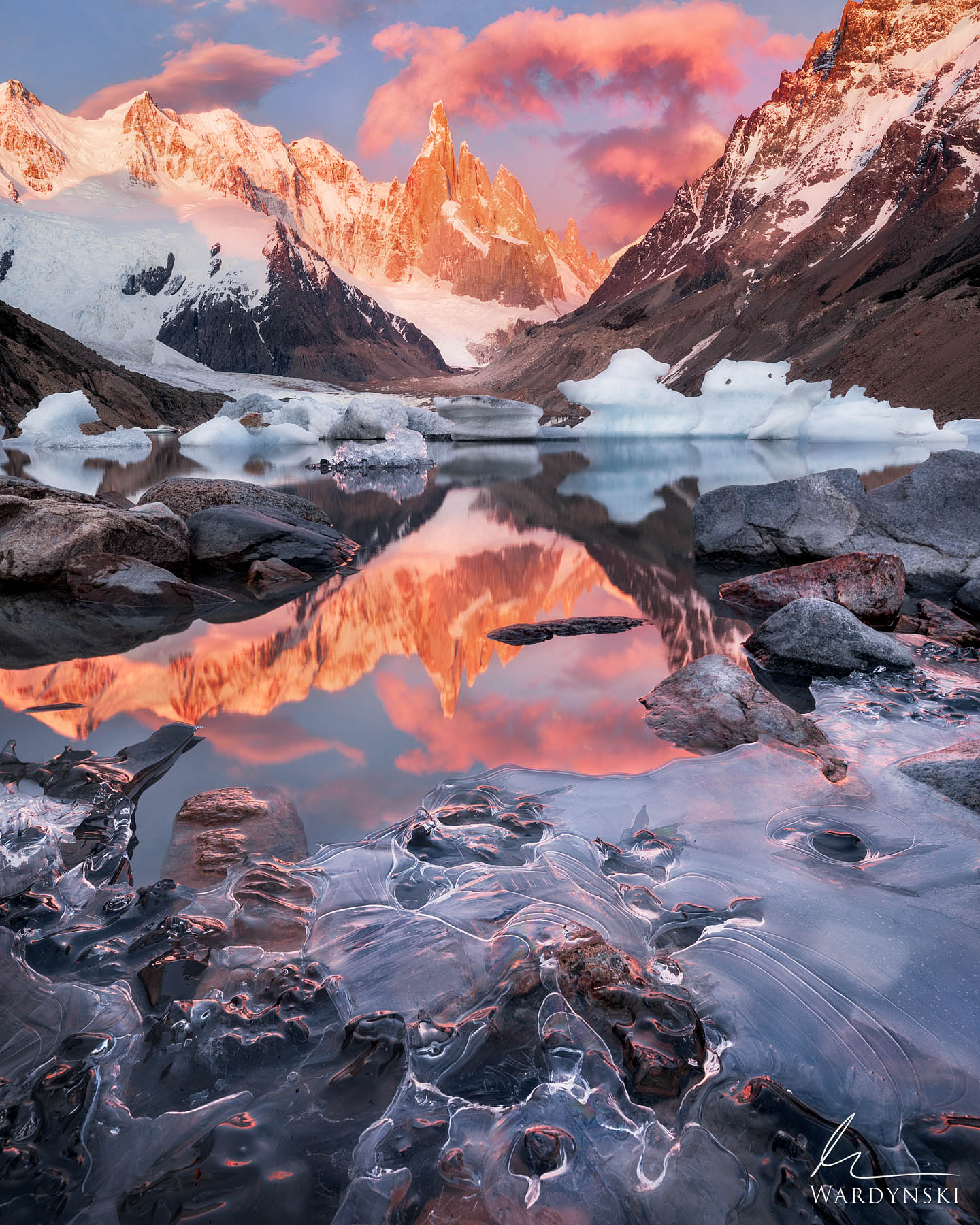Fine Art Print | Limited Edition of 100  Cerro Torre bathes in warm light in front of an icy Laguna Torre on a chilly spring...