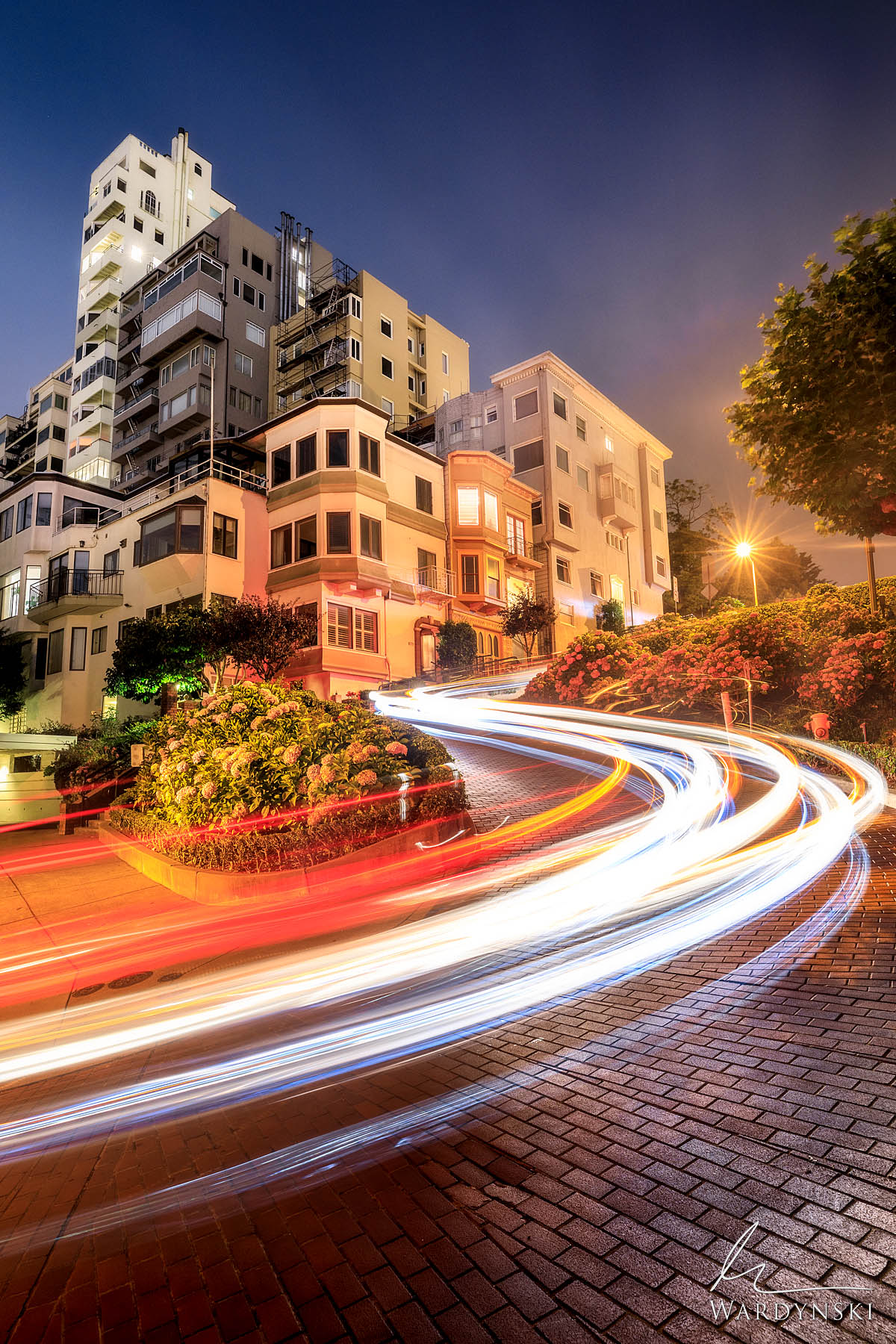 Fine Art Print | Limited Edition of 100  Trails of headlights zig zag down Lombard street in San Francisco, California. The famous...