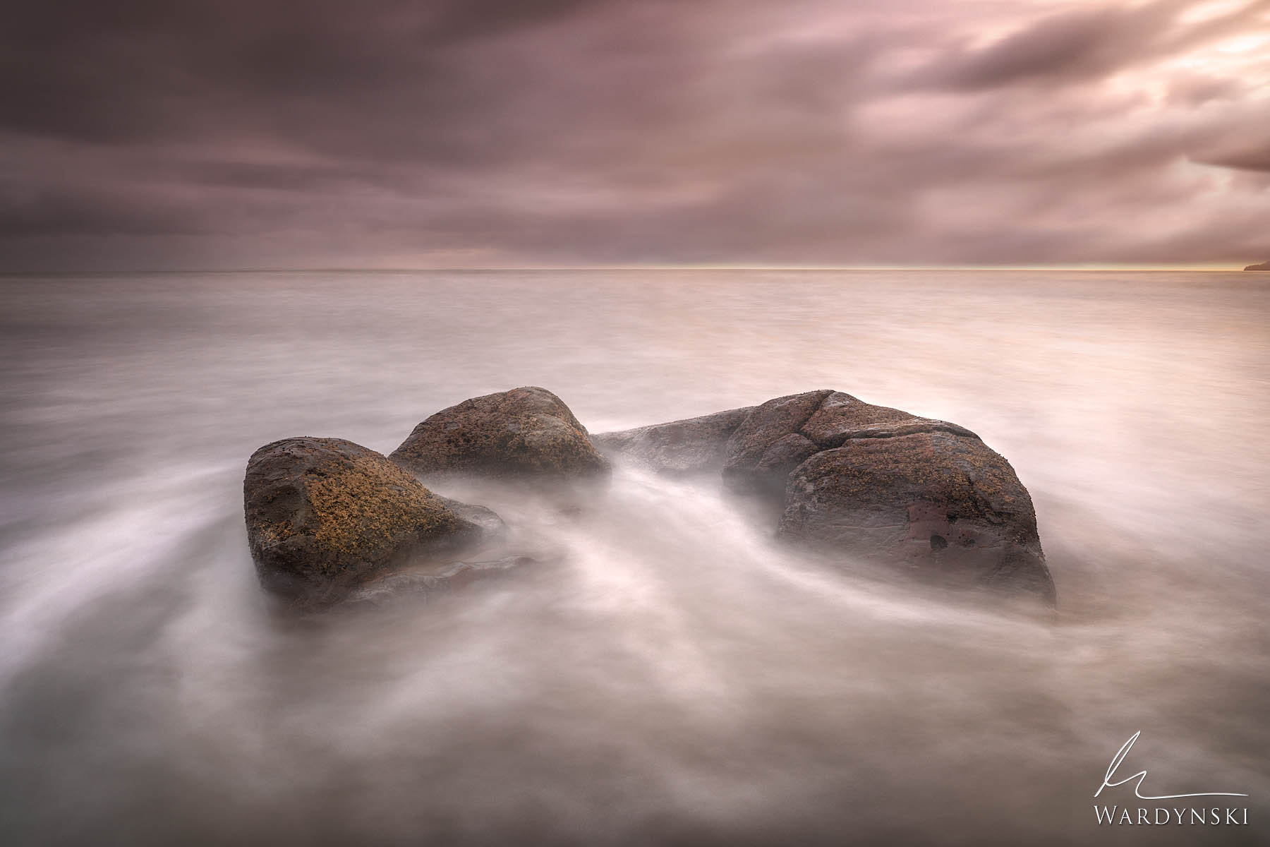 Fine Art Print | Limited Edition of 100  Subtle surf rolls over the remains of a fractured rock at the Moeraki Boulders in New...
