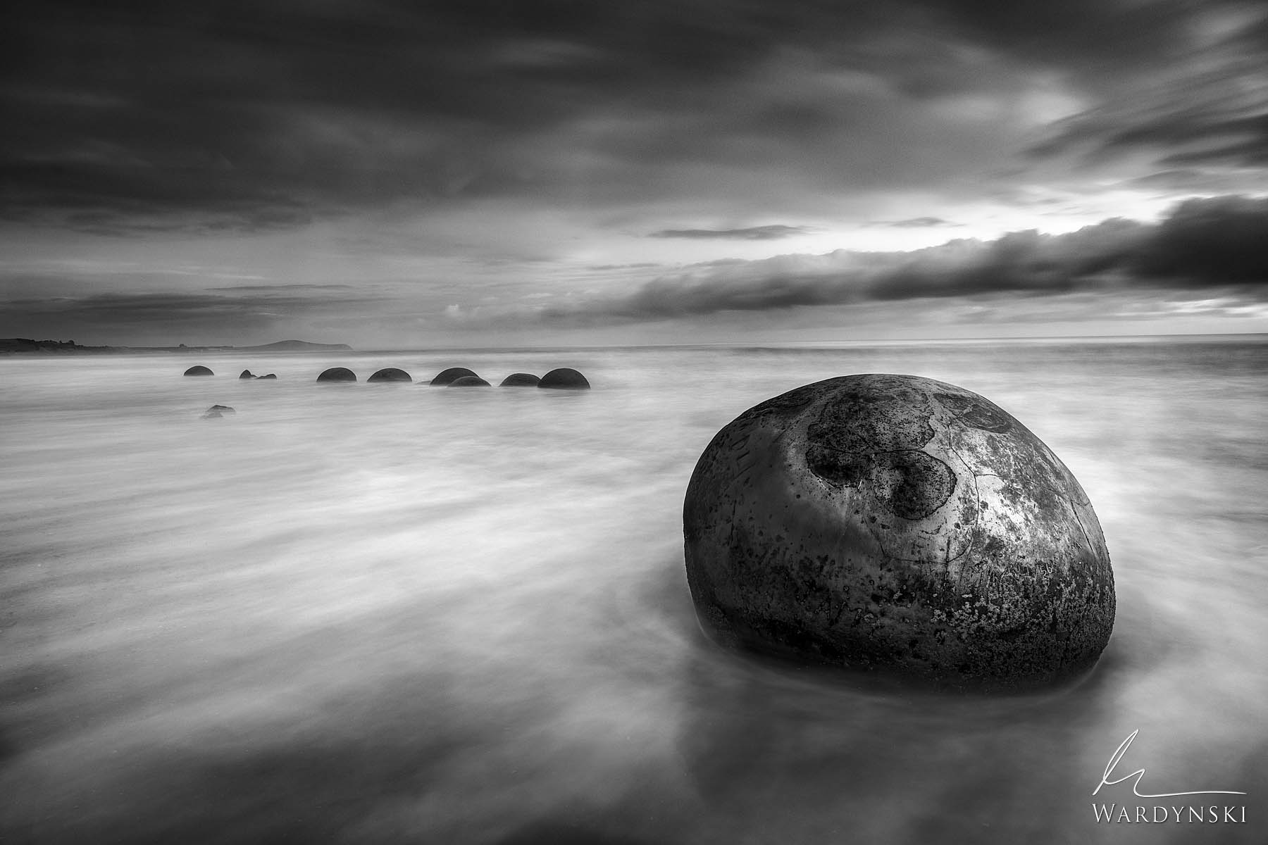 Black and White Fine Art Print | Limited Edition of 100  Time means everything. These are the Moeraki Boulders of New Zealand...