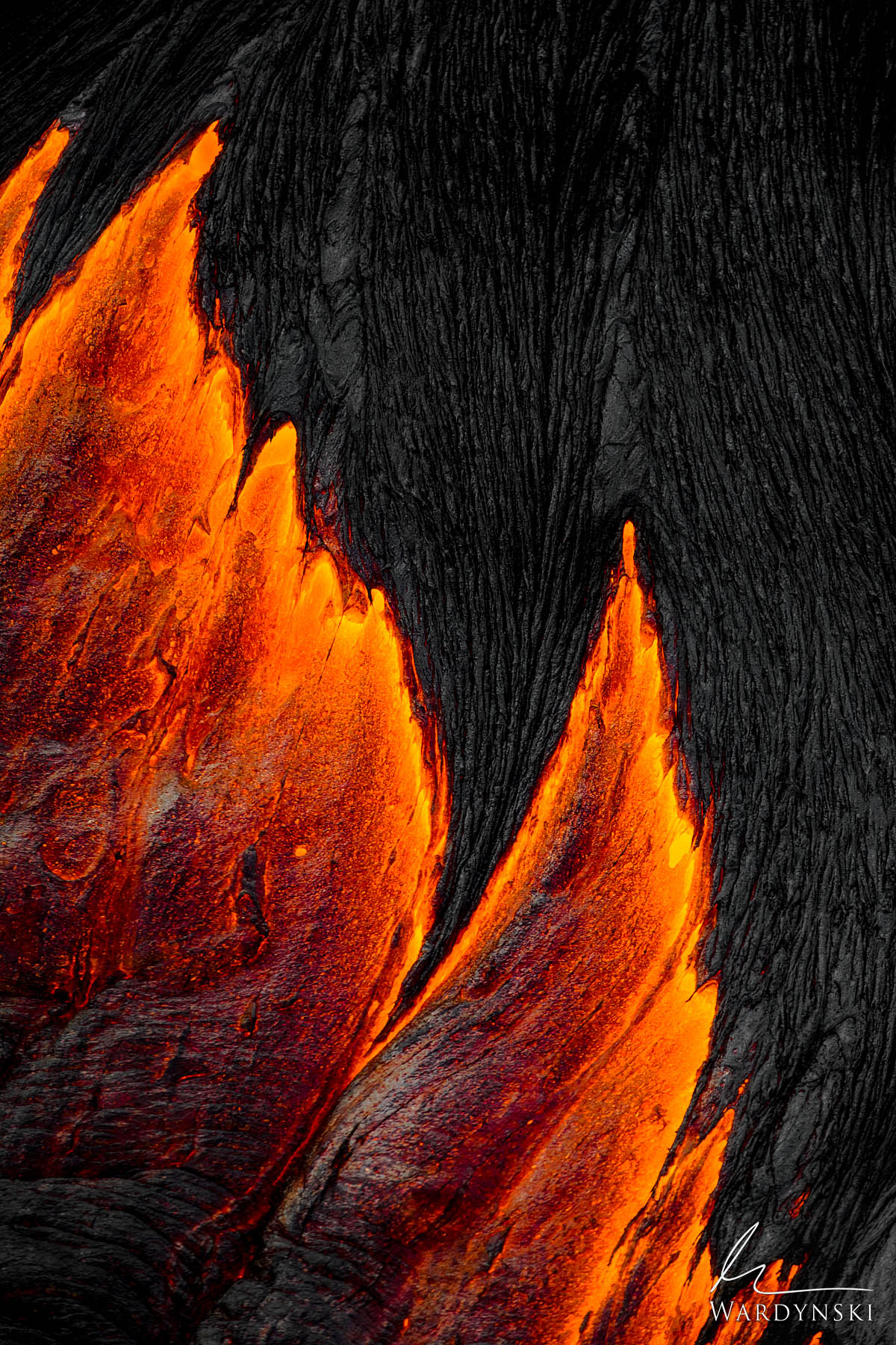 Fine Art Print | Limited Edition of 50  Fresh molten lava flows from underneath a cape of hardened black lava rock on the Big...