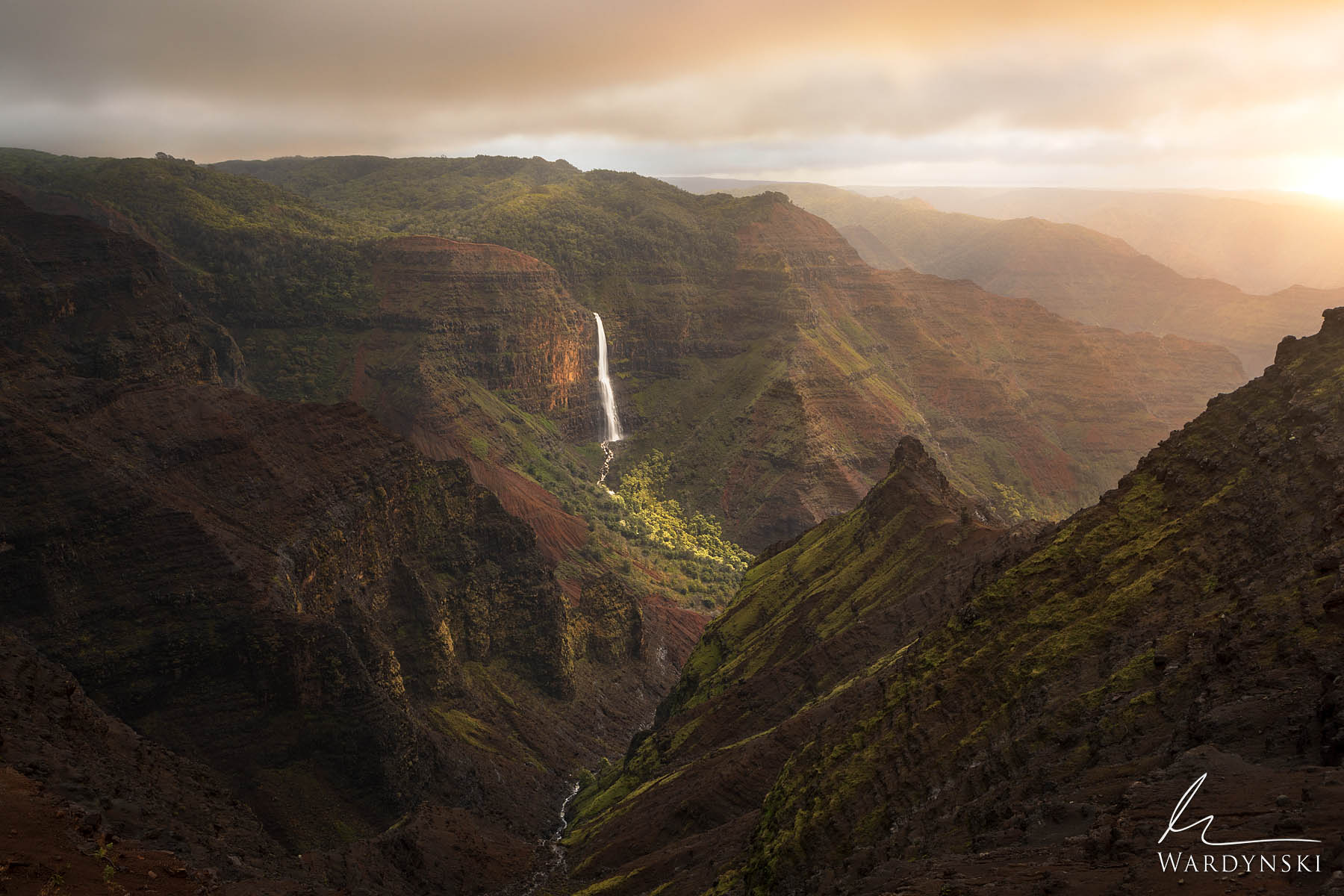 Fine Art Print | Limited Edition of 25  Golden morning light glows throughout Waimea Canyon during sunrise. Located on the island...