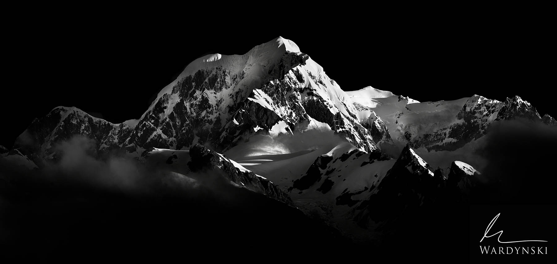 Black and White Fine Art Print | Limited Edition of 25  Morning light strikes the eastern face of the Southern Alps in New Zealand...
