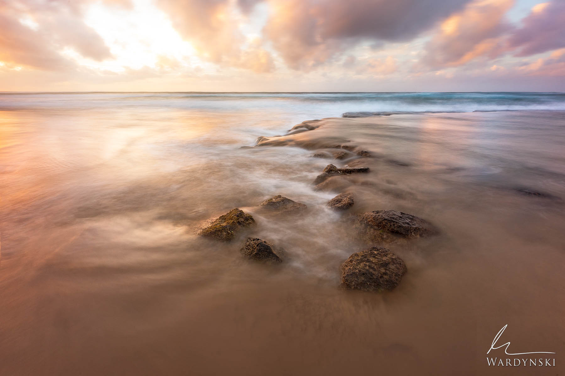 Fine Art Print | Limited Edition of 50  The pastel colors of sunrise are reflected in the warm waters of Hawaii as the gentle...