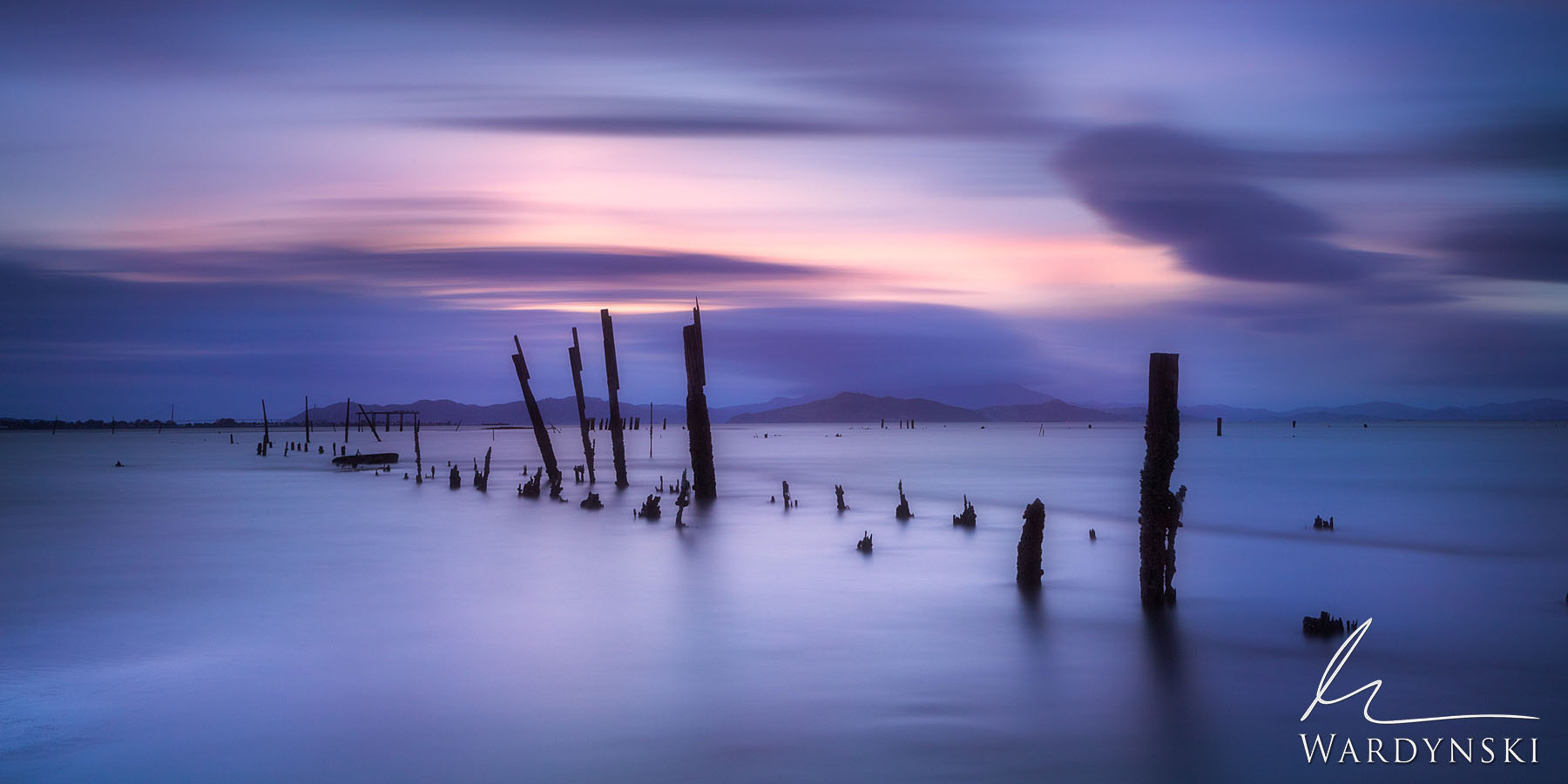 Fine Art Print | Limited Edition of 25  Clouds streak over an old pier in the San Francisco Bay. This Photograph was made using...