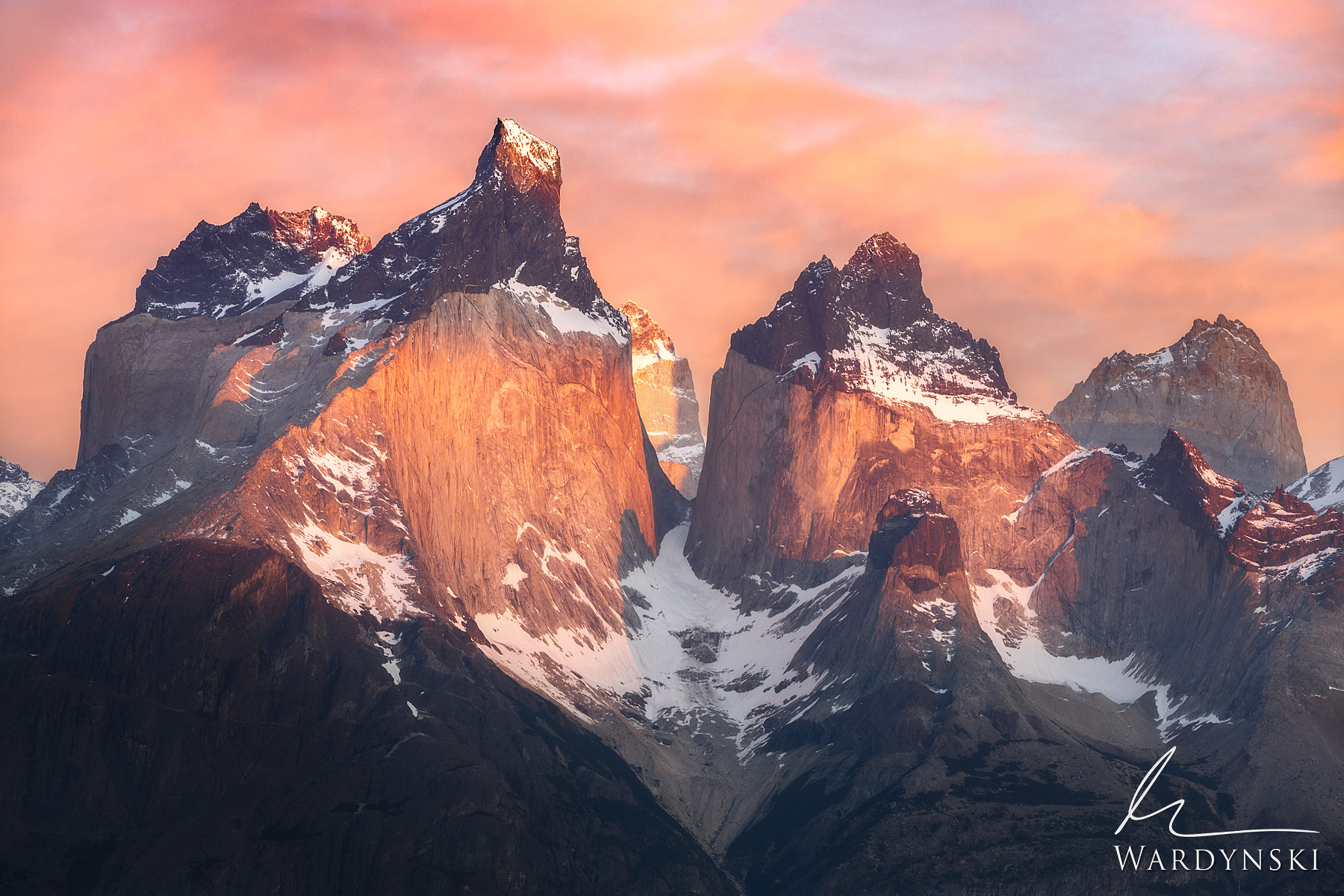 Fine Art Print | Limited Edition of 100  The Paine Massif is a collection of beautifully irregular peaks in Patagonia. The three...
