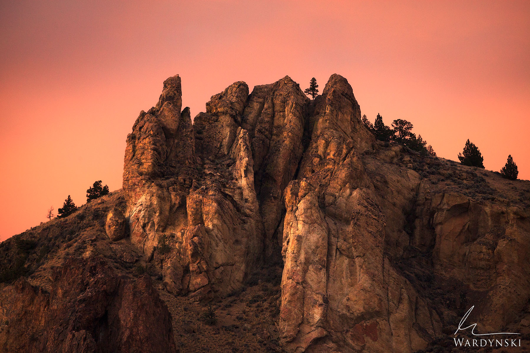 Fine Art Print | Limited Edition of 25  A beautiful pink glow illuminates Smith Rock State Park in central Oregon during sunset...