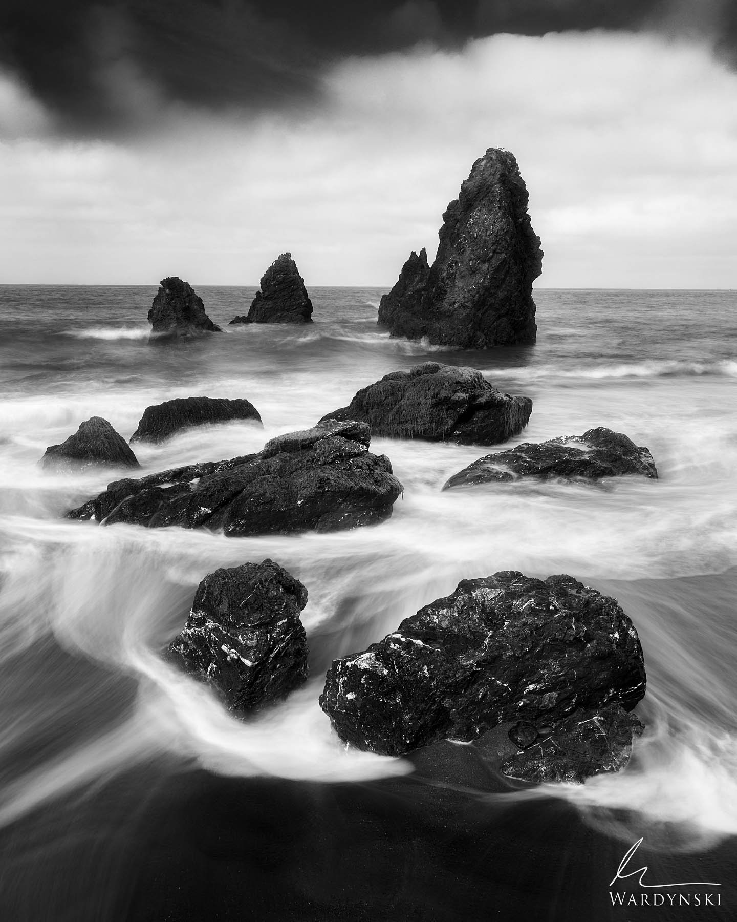 Black and White Fine Art Print | Limited Edition of 100  Sea stacks tower out of the Ocean in the Marin Headlands just outside...