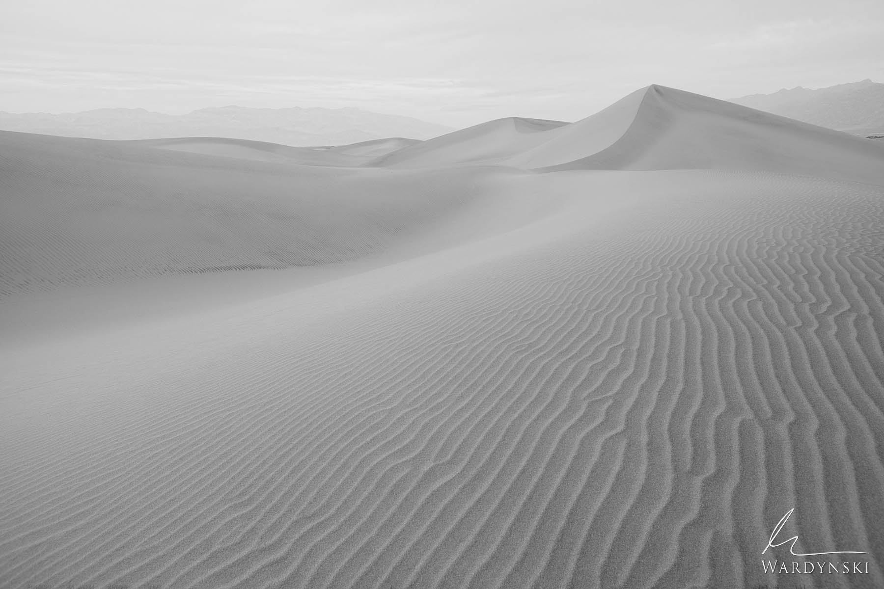 Black And White Fine Art Print   Limited Edition of 25  Wonderfully soft light falls on the soft sands of Mesquite Dunes in Death...