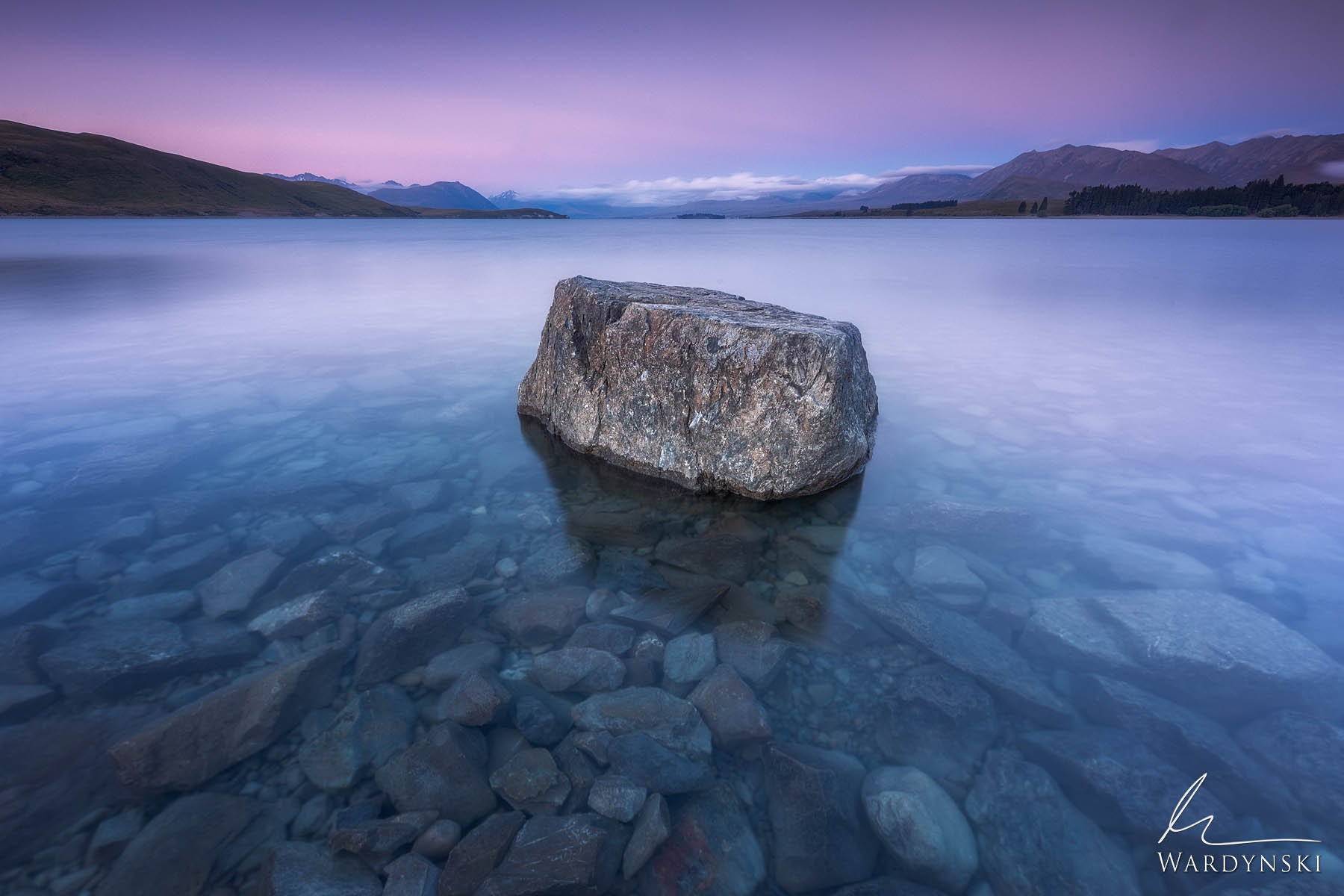 Fine Art Print | Limited Edition of 100  The pink alpine glow of summer lingers over Lake Tekapo like a good friend who doesn...