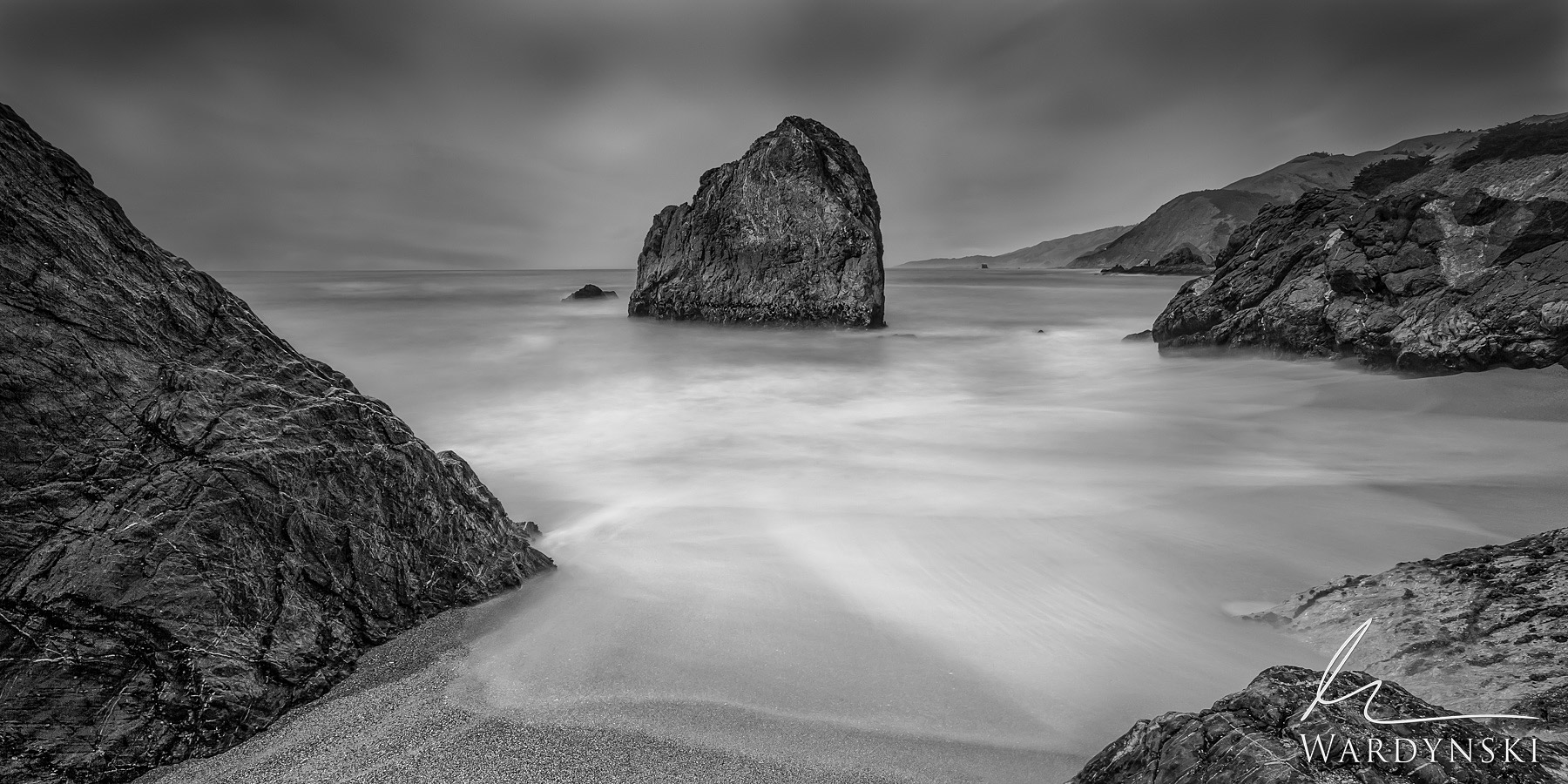 Black and White Fine Art Print | Limited Edition of 25  Land and sea nearly become one in this long exposure from the central...