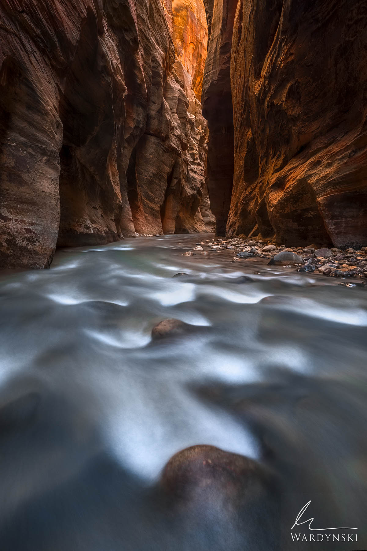 Fine Art Print | Limited Edition of 75 The Virgin River whispers over delicate cascades at Wall Street in Zion National Park...