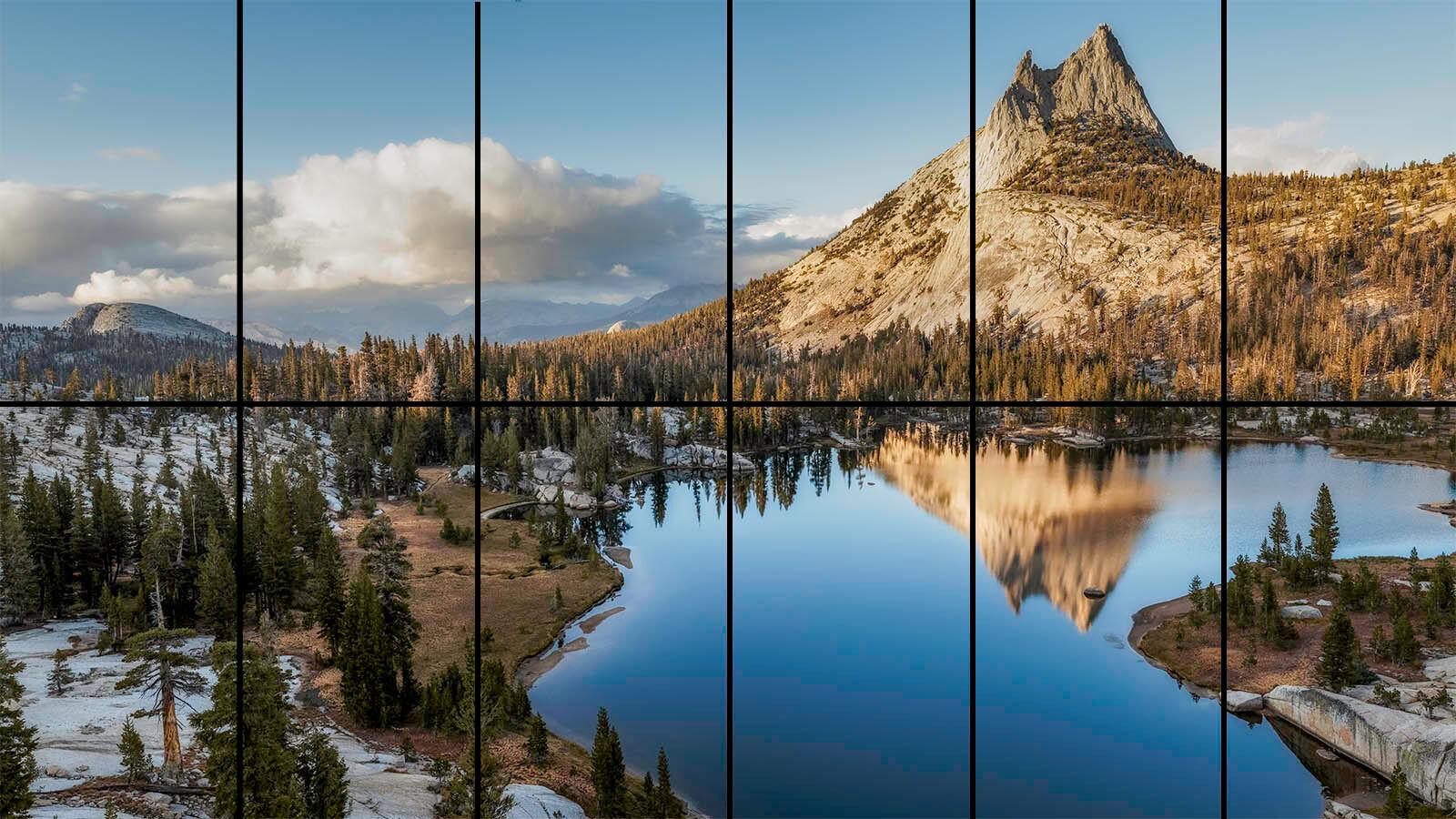 Yosemite panorama with grid
