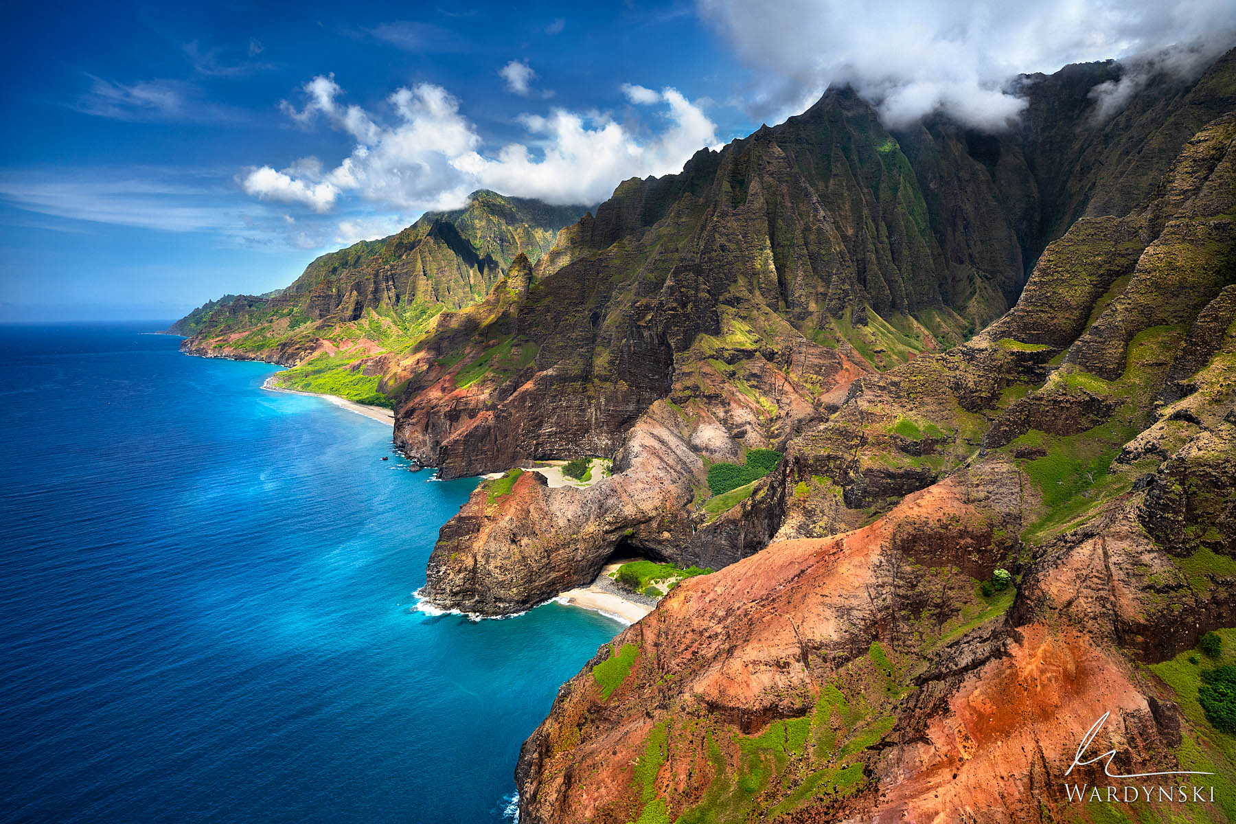 Fine Art Print | Limited Edition of 100  Sun shines down on the Na Pali Cost during a beautiful summer day on the Hawaiian island...