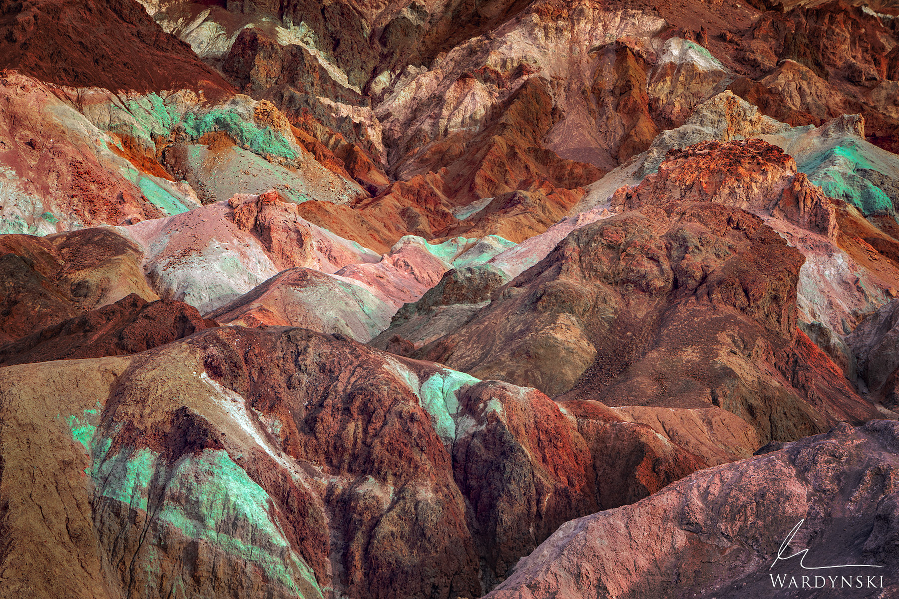 Fine Art Print | Limited Edition of 25  Like paint on an artist's palette, multicolored rocks blend together in Death Valley...