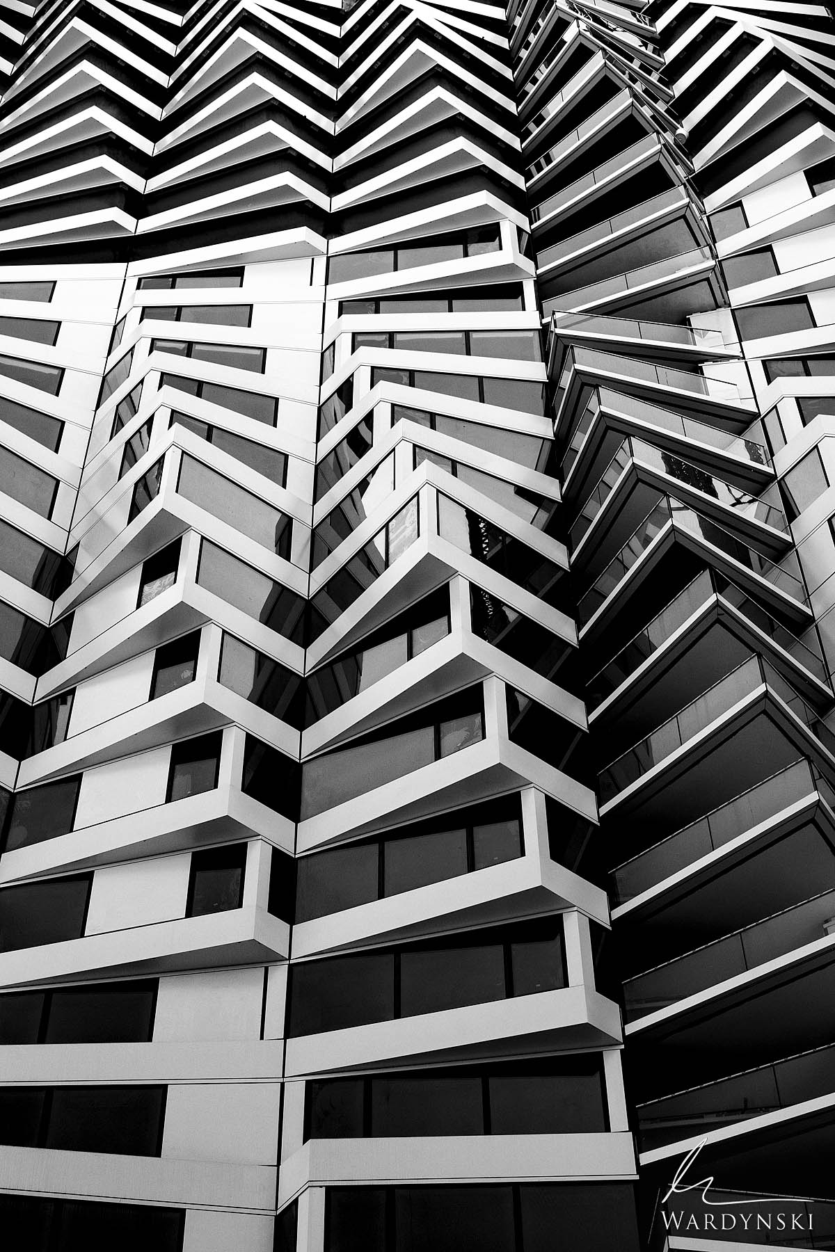 Black and White Fine Art Print | Limited Edition of 35  A 392-unit high-rise corkscrews towards the sky in San Francisco, California...
