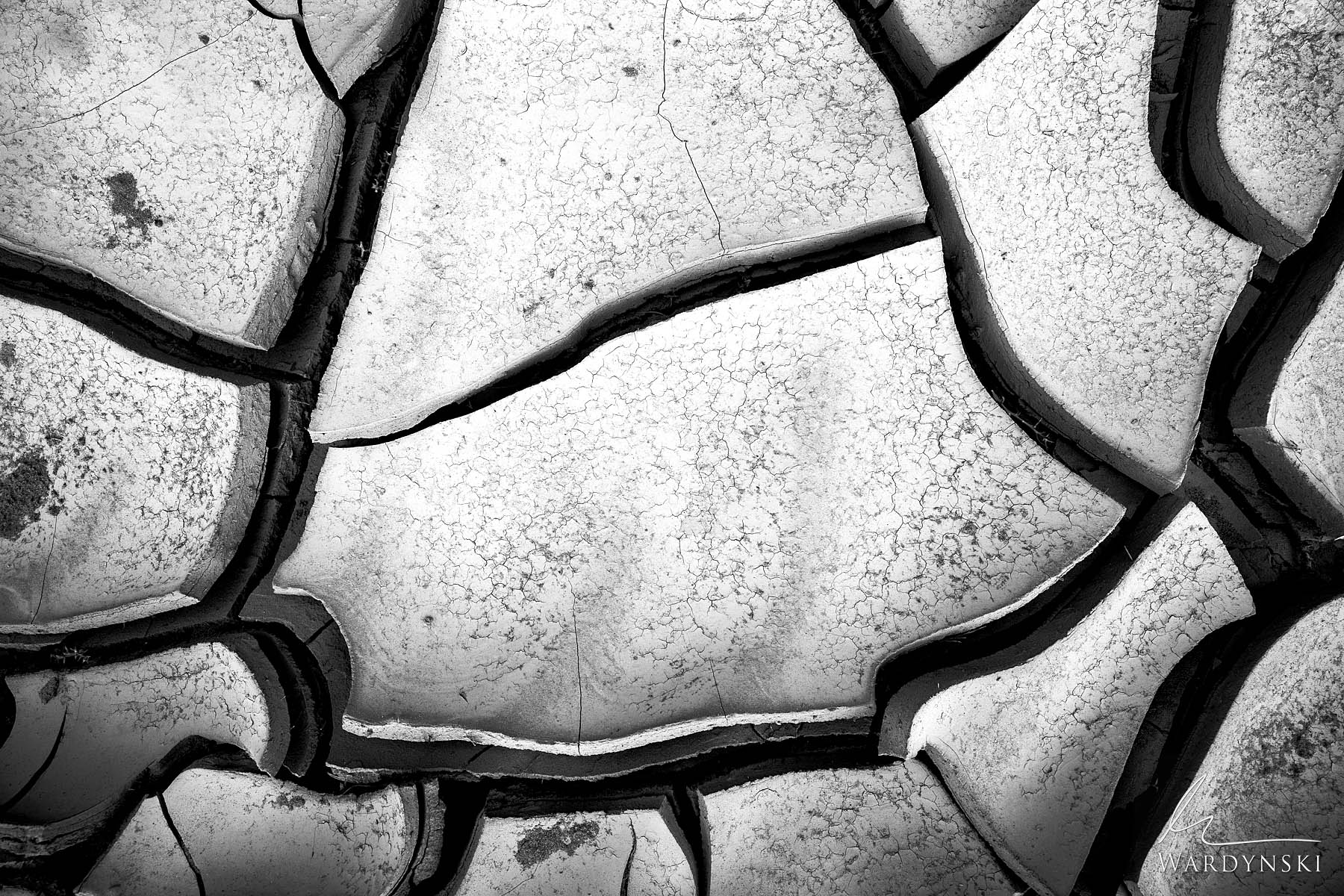 Black and White Fine Art Print | Limited Edition of 50  Dense mud tiles lay on the desert floor of southern Utah. The cracked...