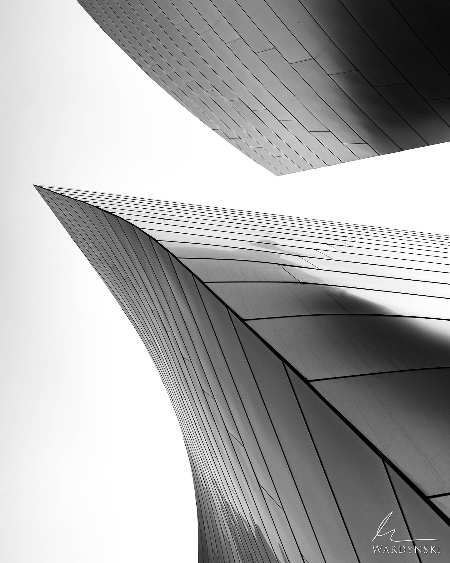 Black and White Fine Art Print | Limited Edition of 35  The large metal fins of the Walt Disney Concert Hall in downtown Los...